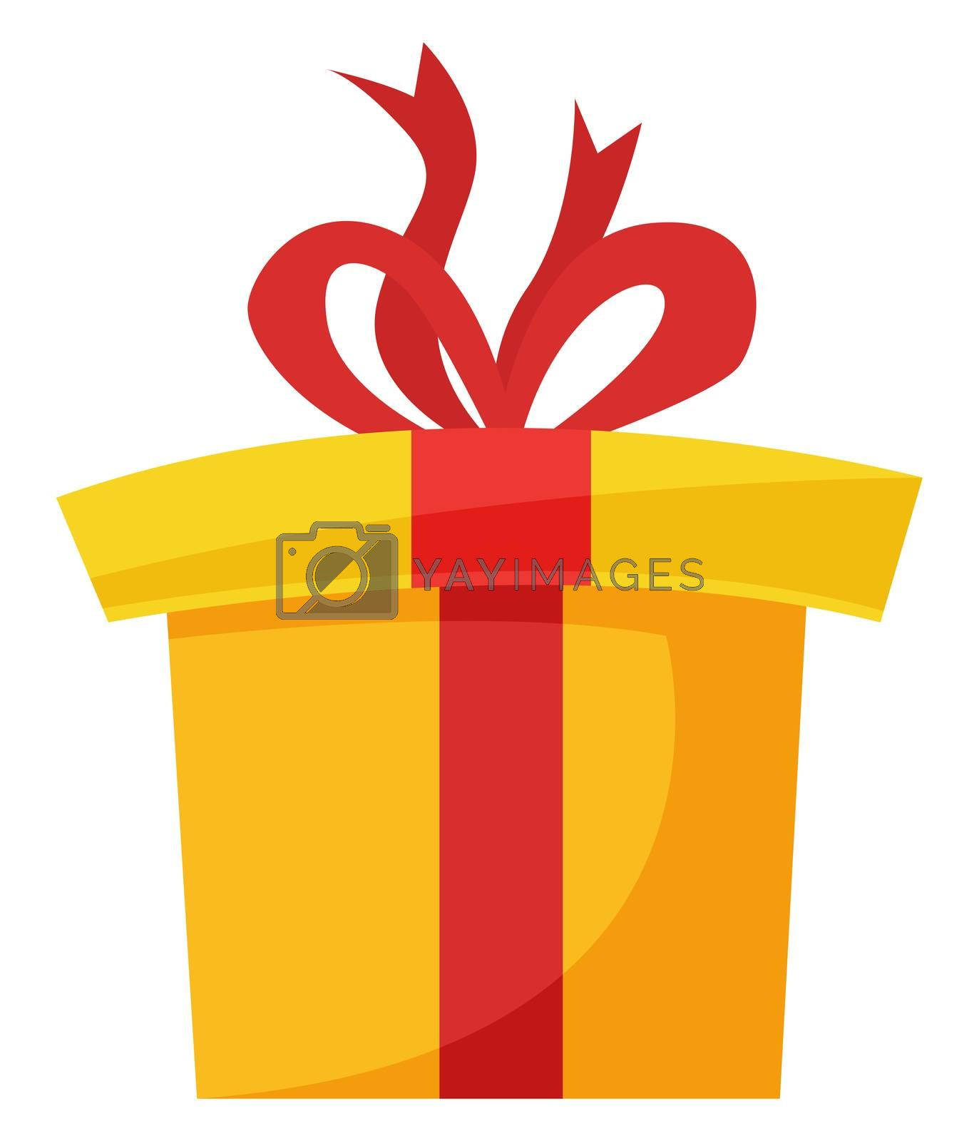 Big yellow present, illustration, vector on white background