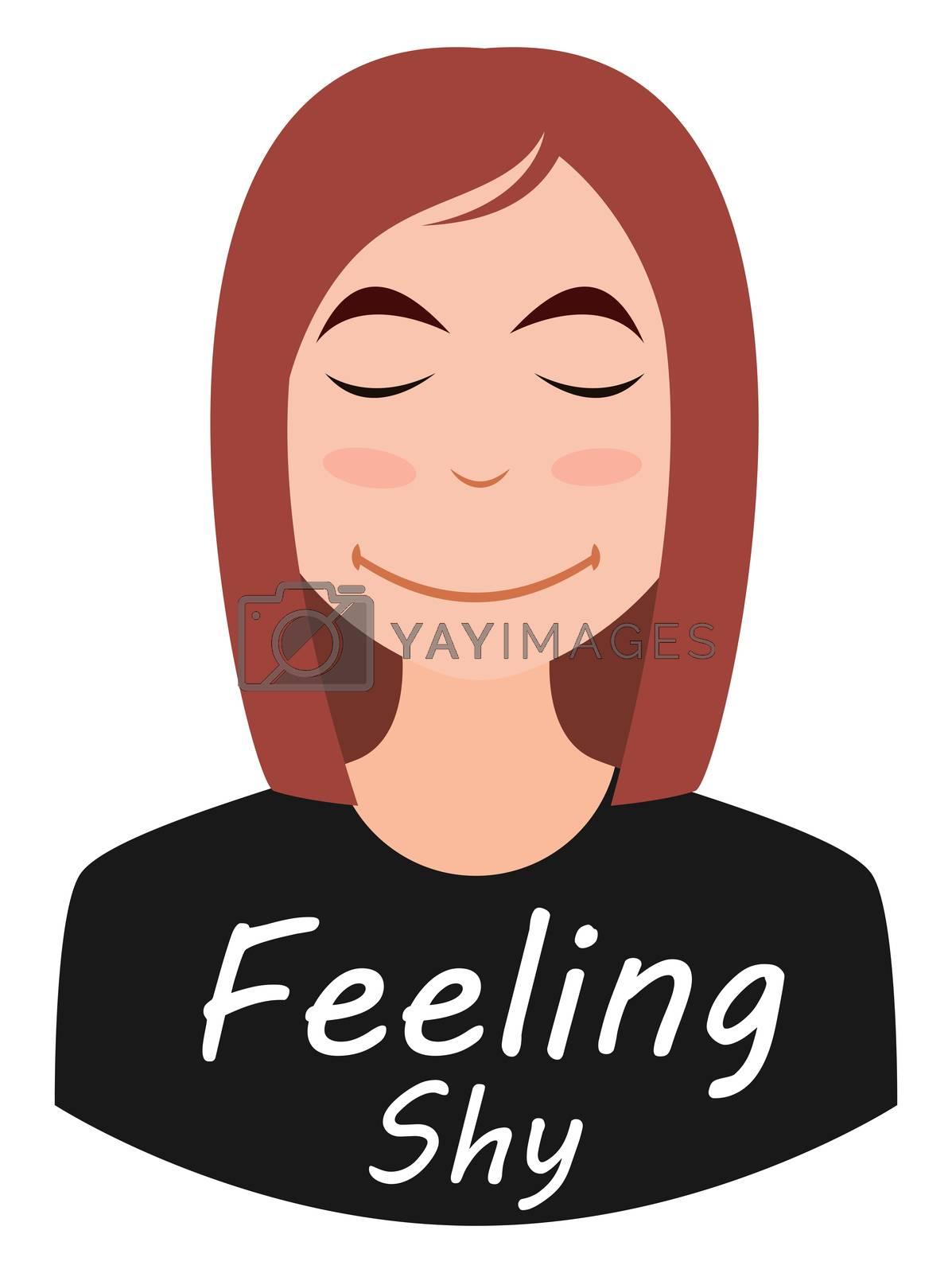 Shy girl emoji, illustration, vector on white background