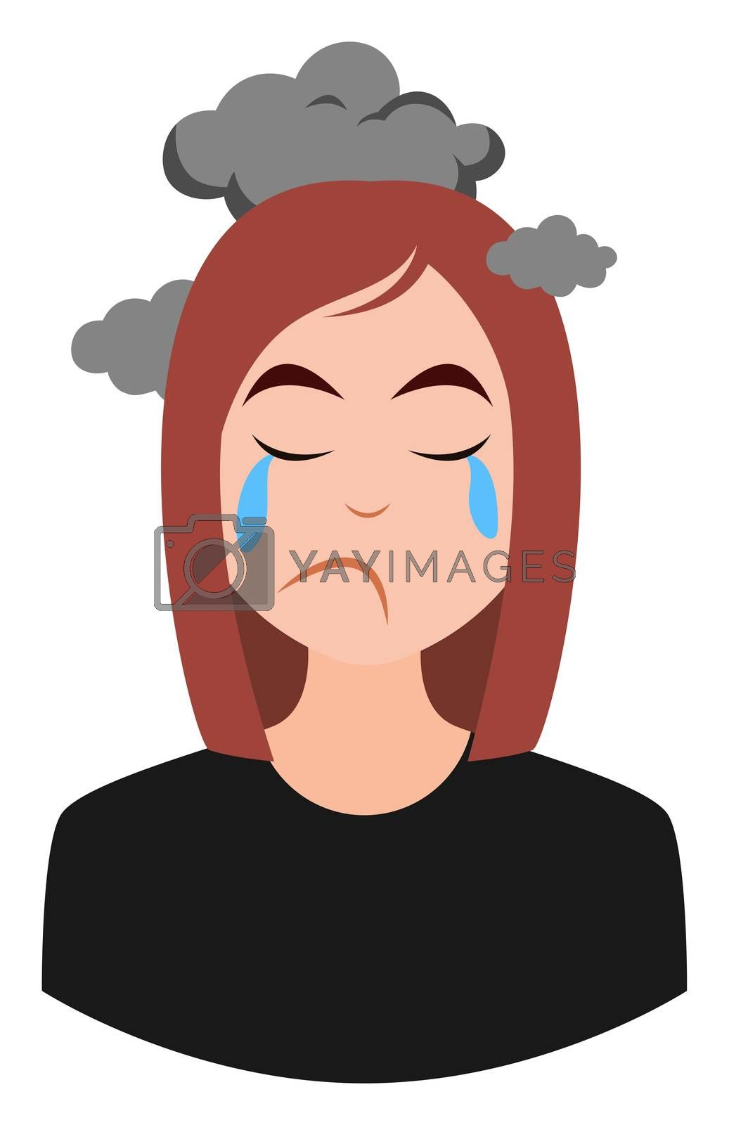 Royalty free image of Depressed girl, illustration, vector on white background by Morphart