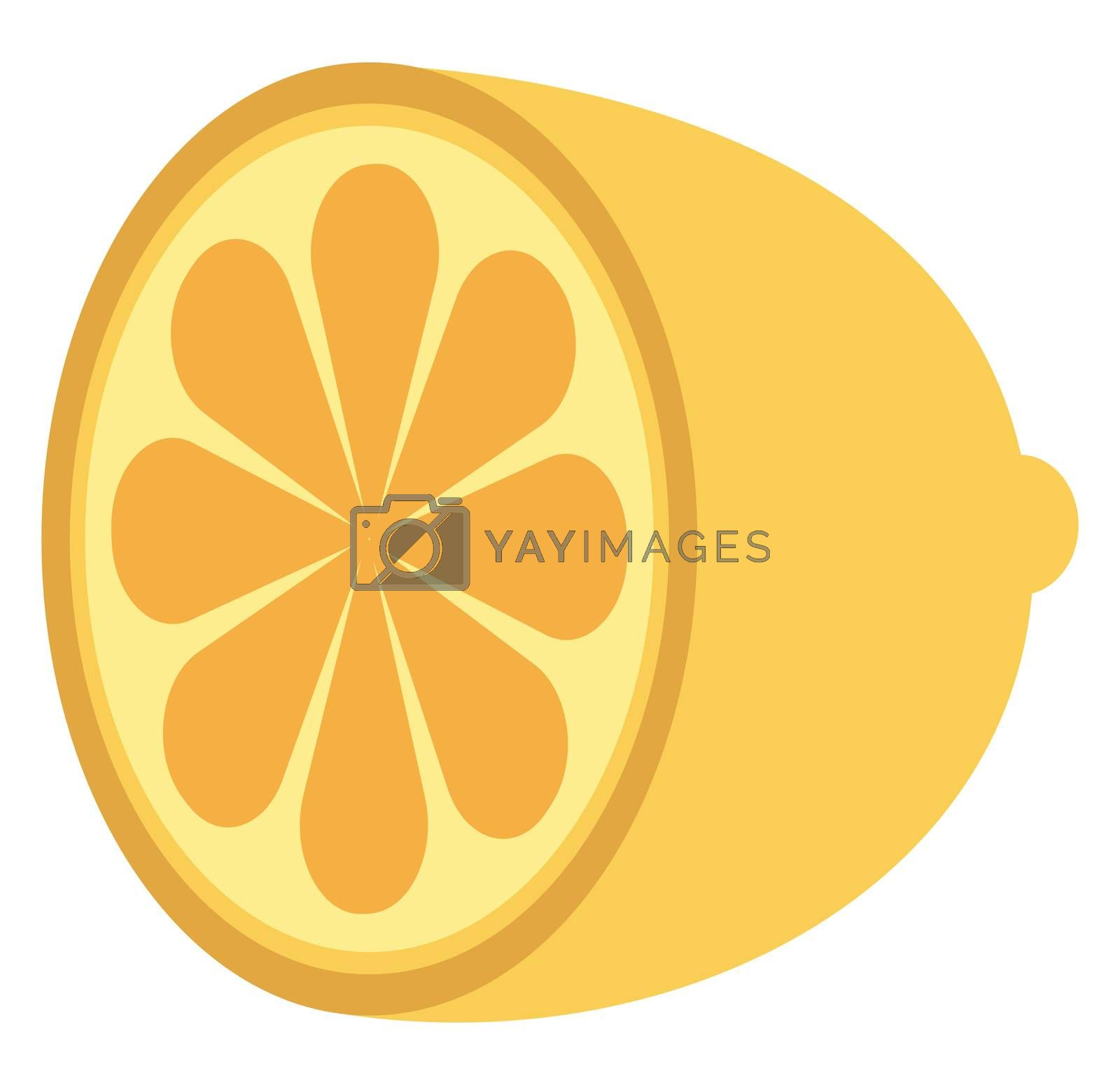 Half lemon, illustration, vector on white background