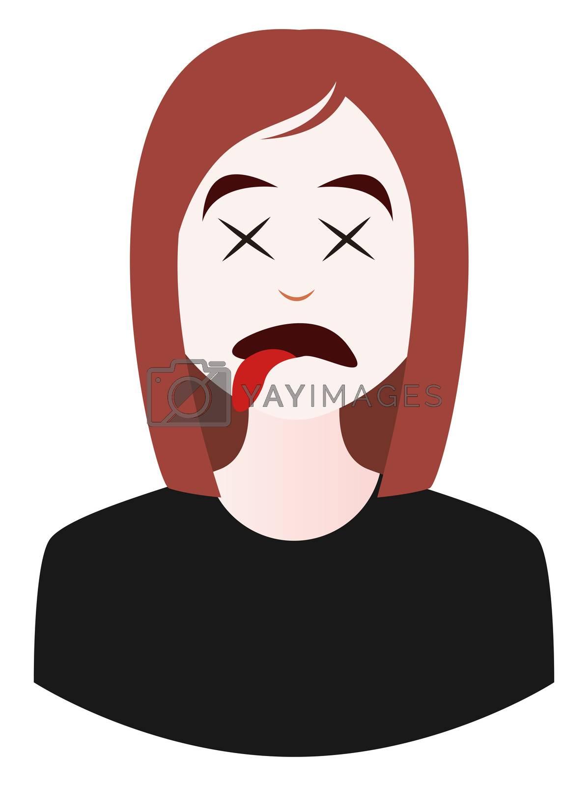 Royalty free image of Dead girl emoji, illustration, vector on white background by Morphart