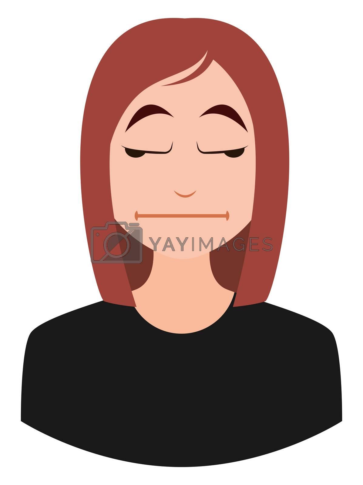 Bored girl emoji, illustration, vector on white background