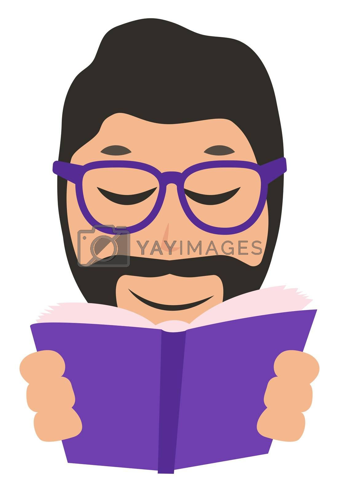 Man reading book, illustration, vector on white background