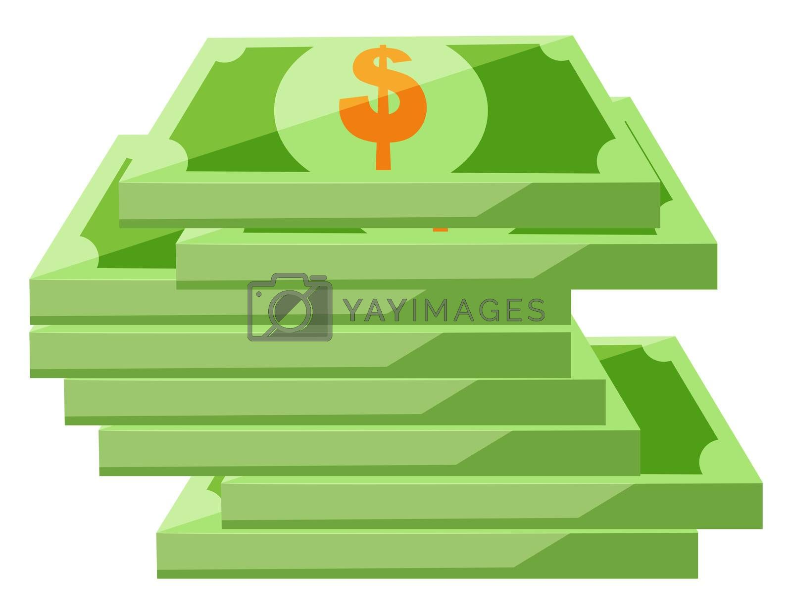 Paper money, illustration, vector on white background