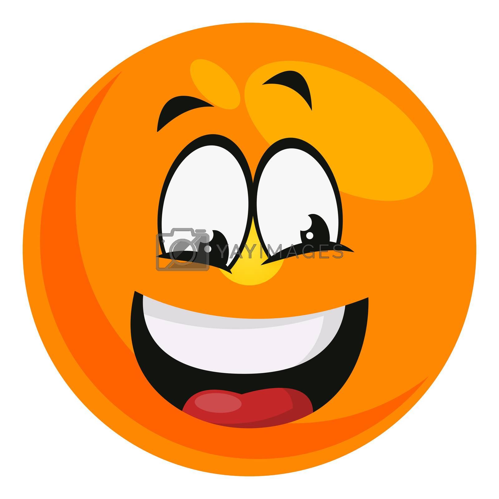 Happy emoji, illustration, vector on white background