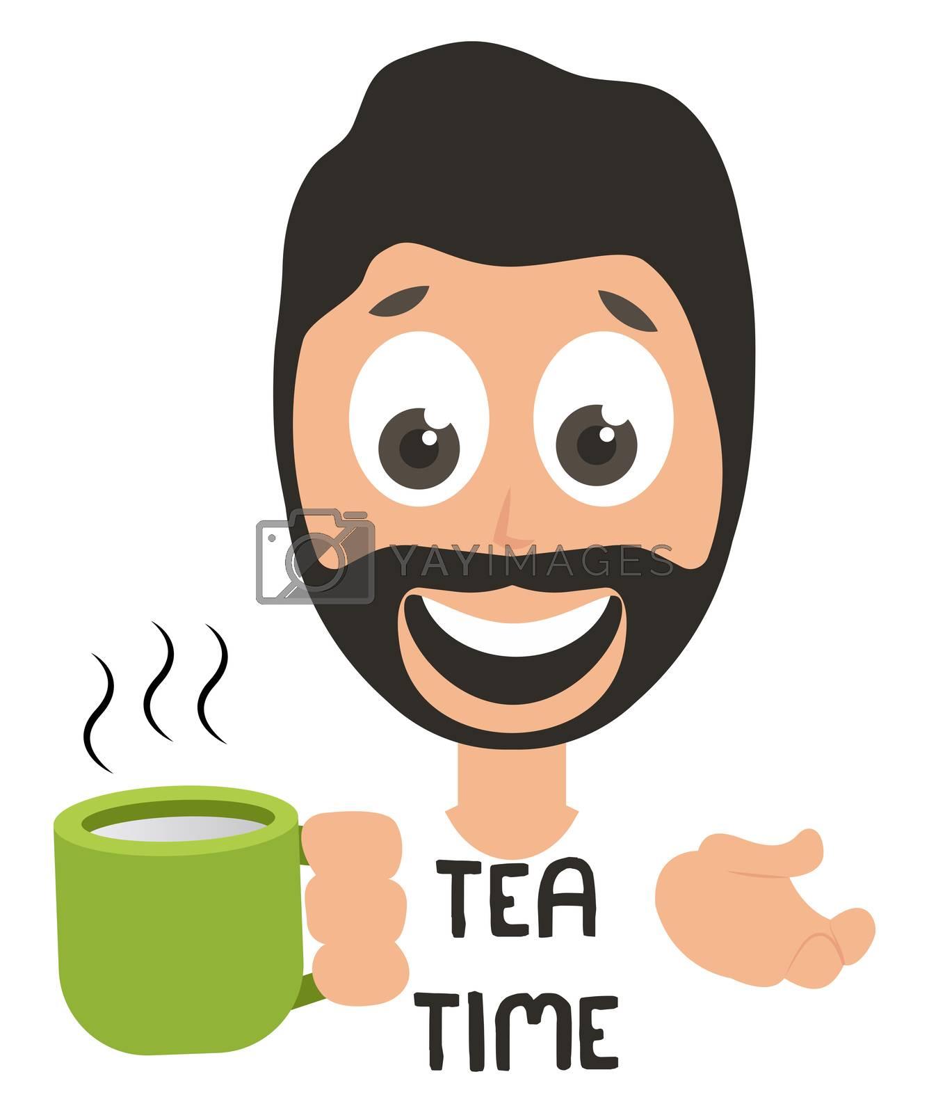 Man drinking tea, illustration, vector on white background