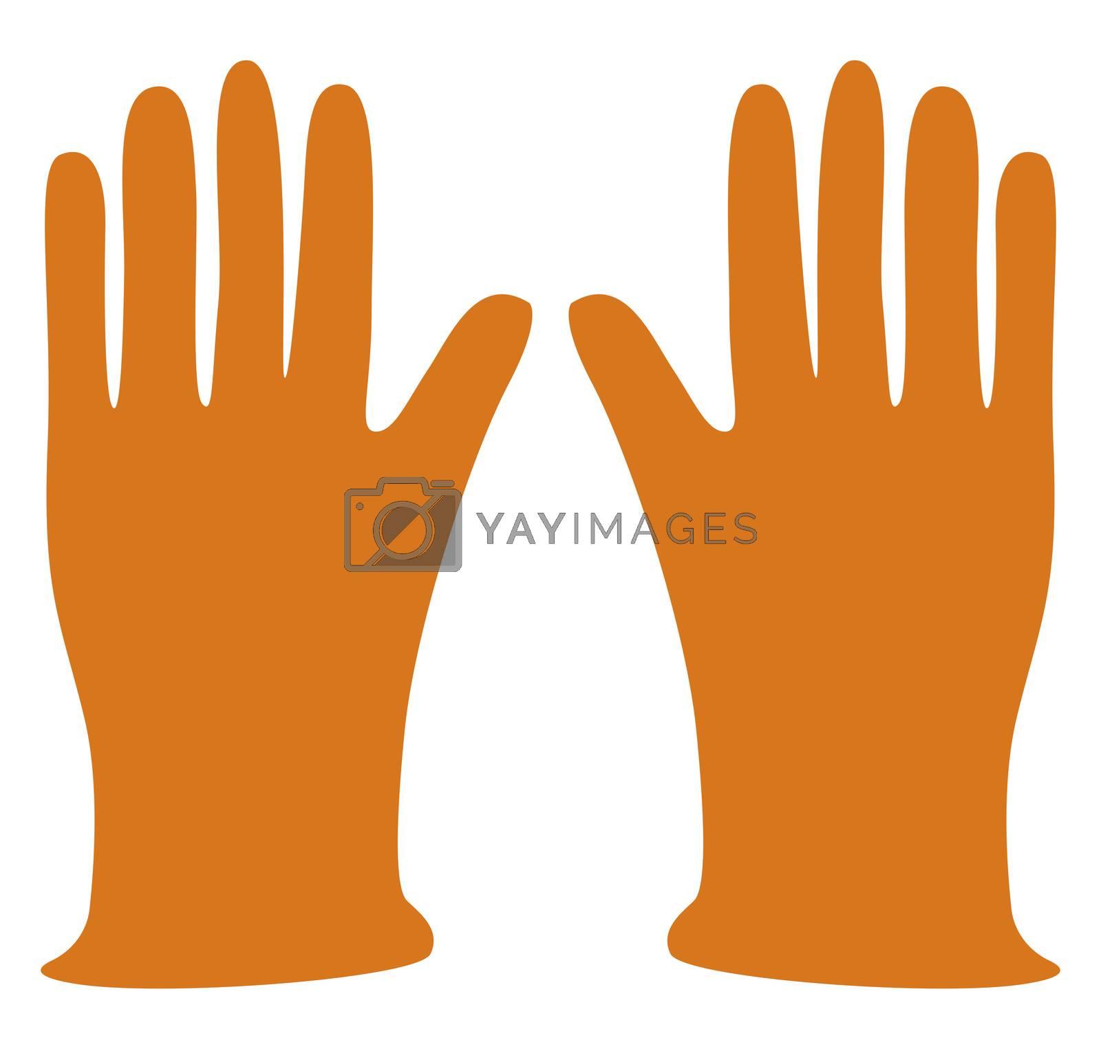 Orange gloves, illustration, vector on white background