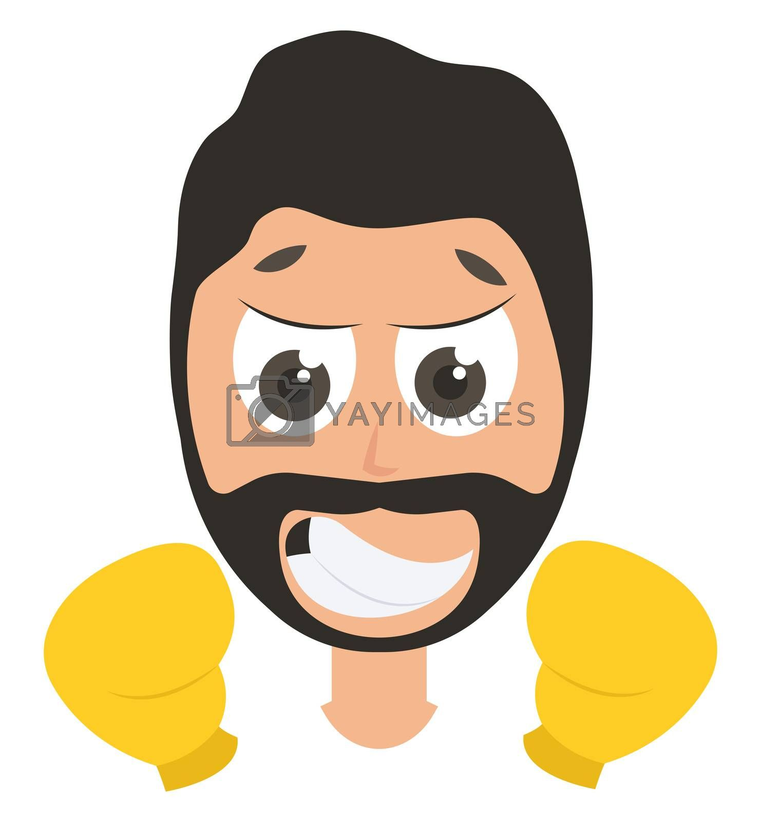 Man with boxing gloves, illustration, vector on white background