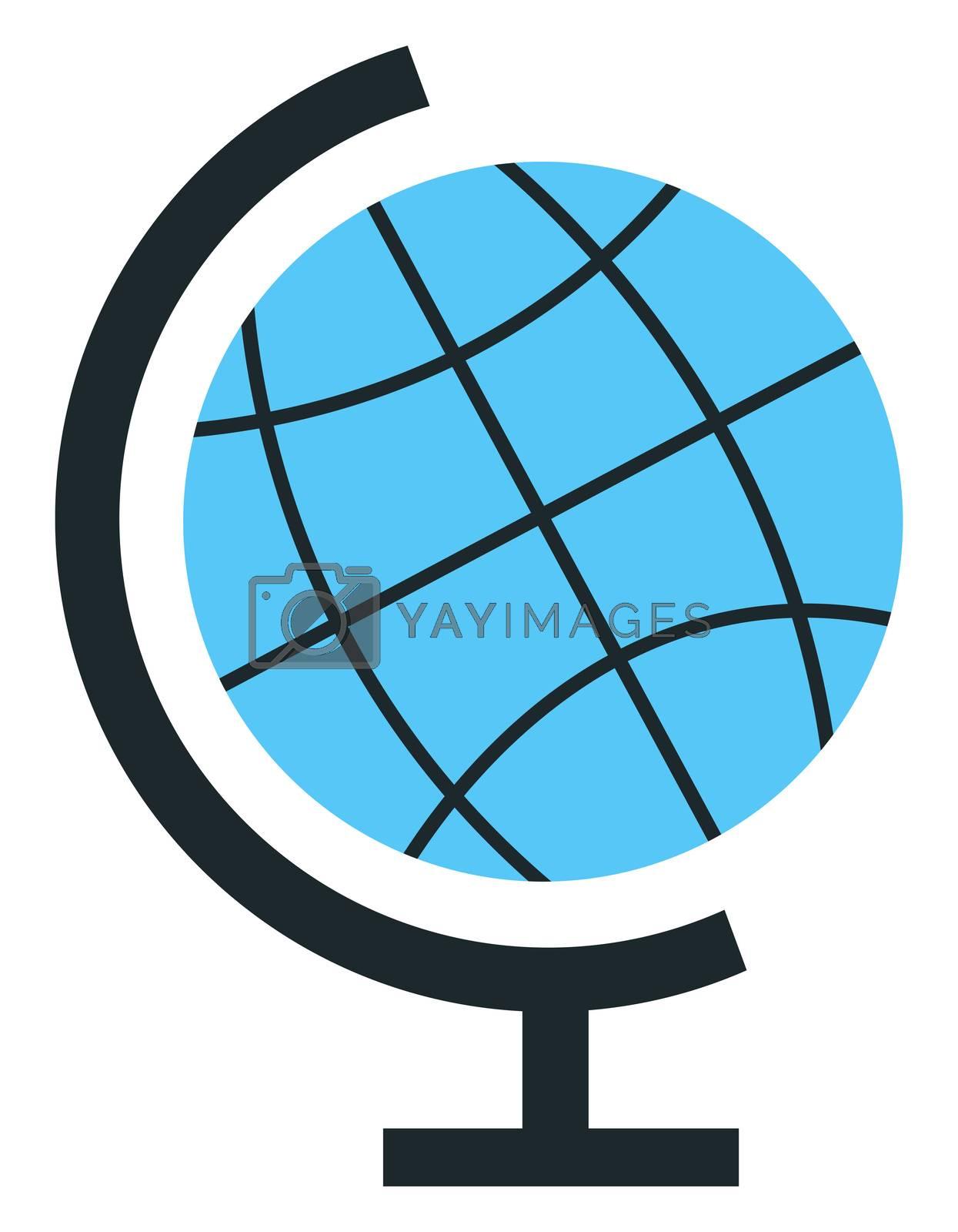 Blue globe, illustration, vector on white background