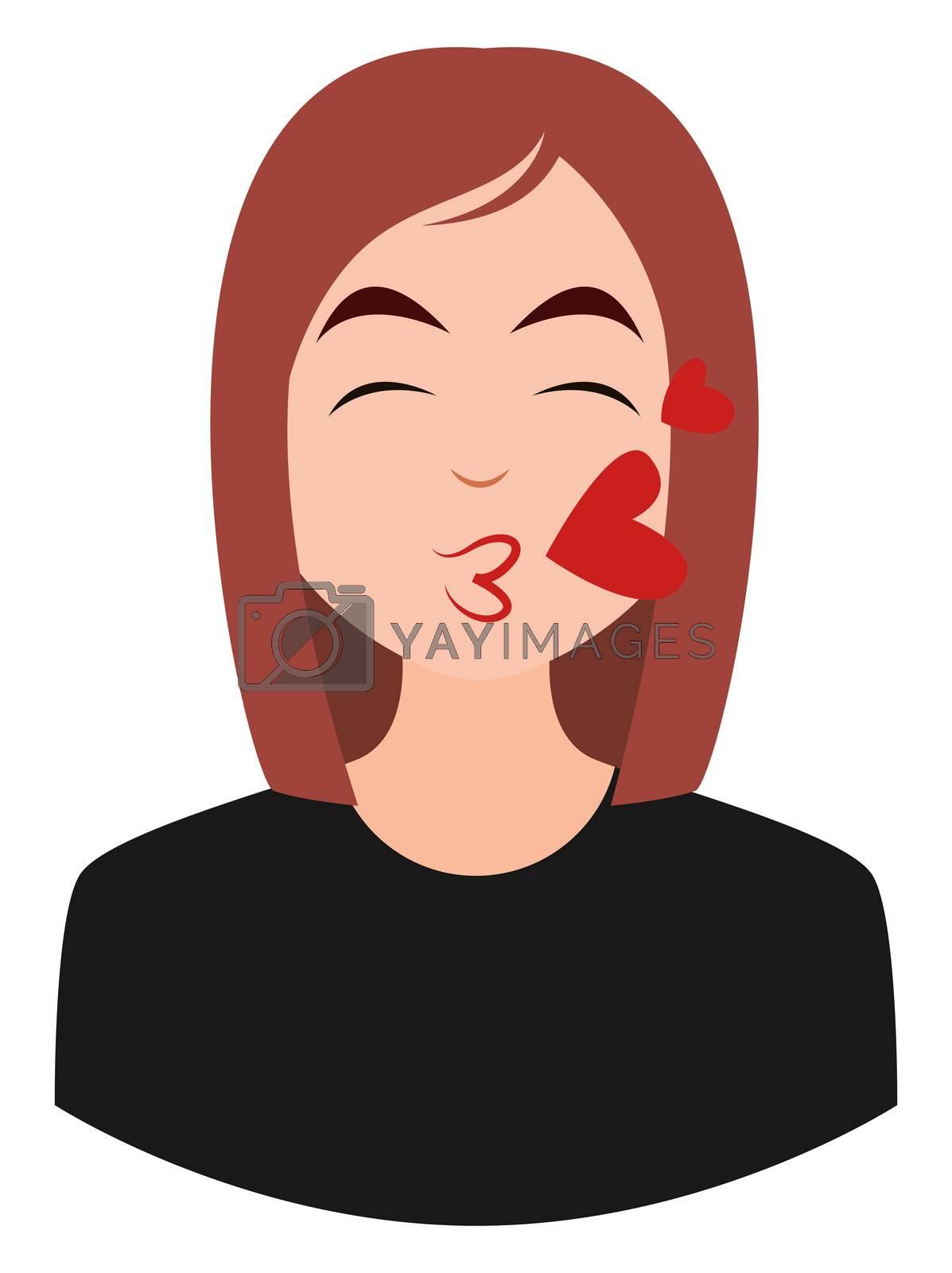 Girl sending love, illustration, vector on white background