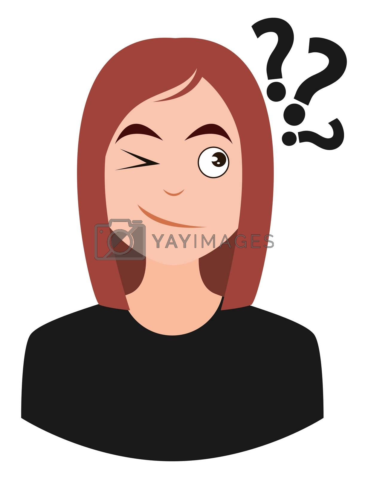 Girl with question marks, illustration, vector on white background