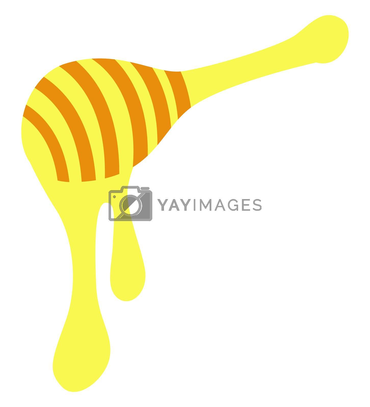 Honey spoon, illustration, vector on white background