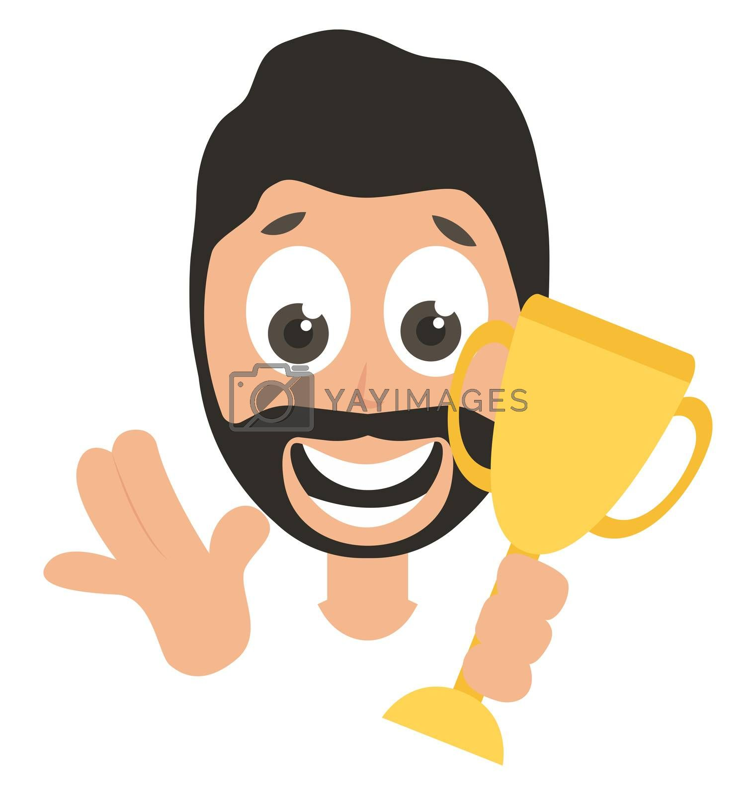 Man with golden trophy, illustration, vector on white background