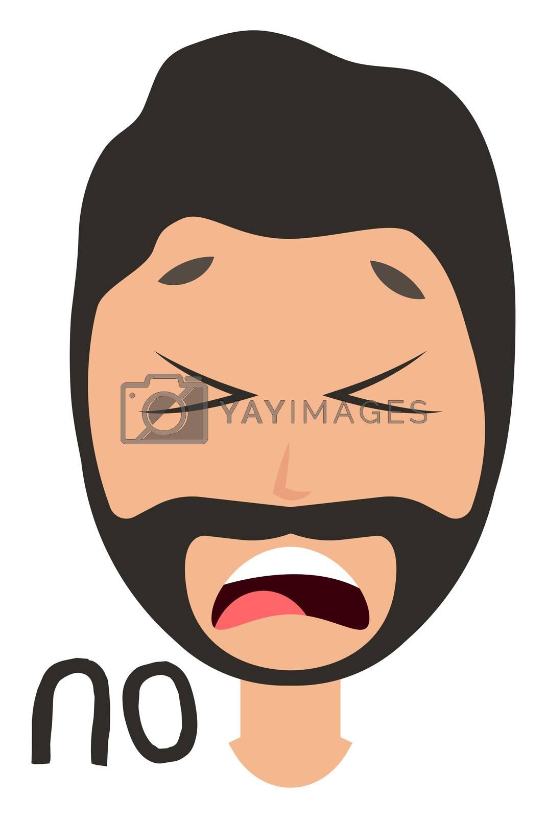 Man saying no, illustration, vector on white background