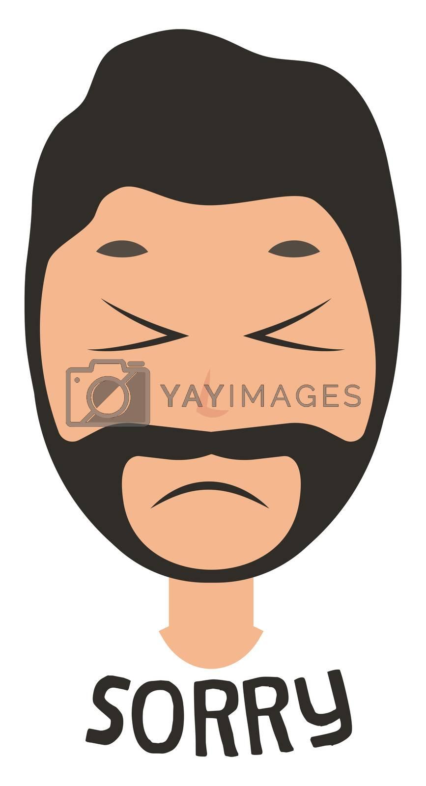 Man saying sorry, illustration, vector on white background