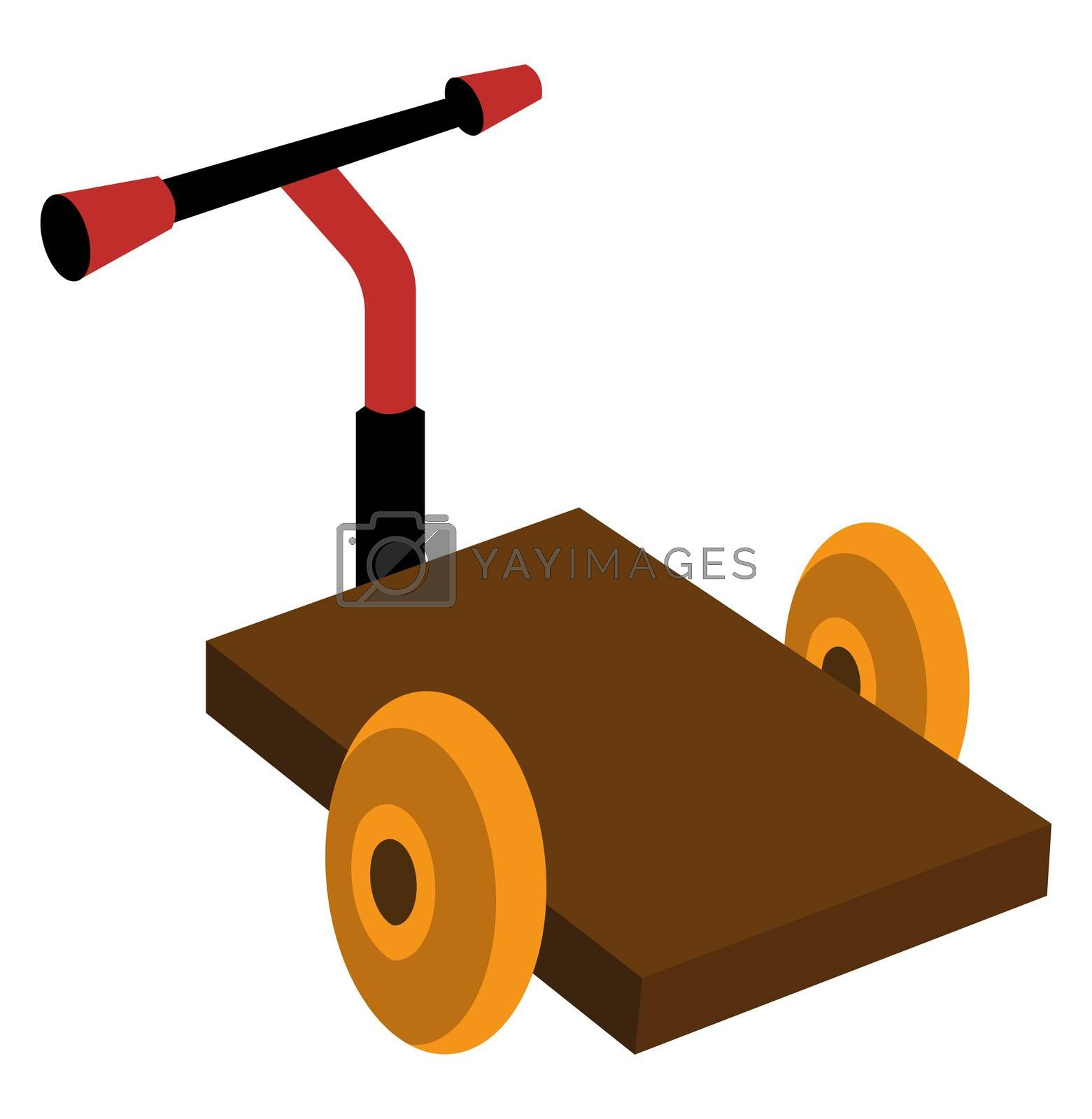 Loading trolley, illustration, vector on white background