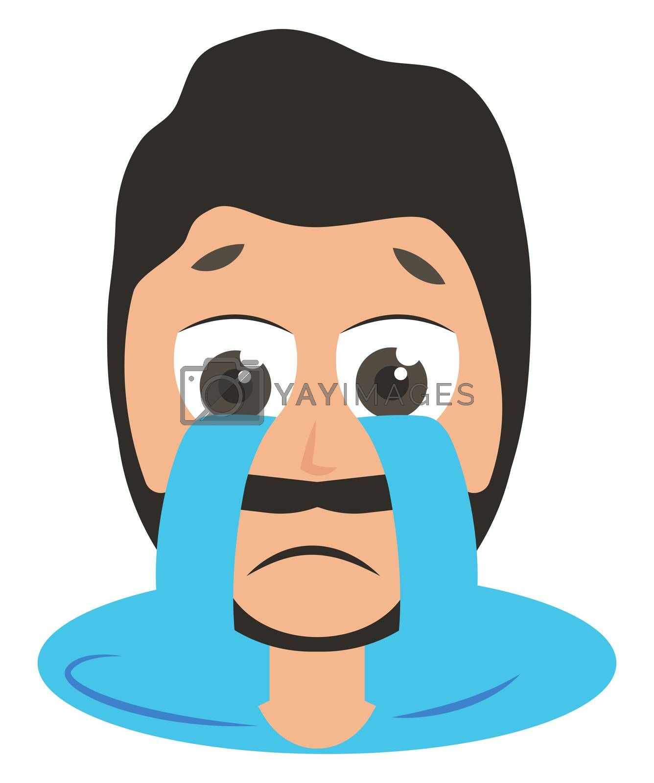 Man crying, illustration, vector on white background