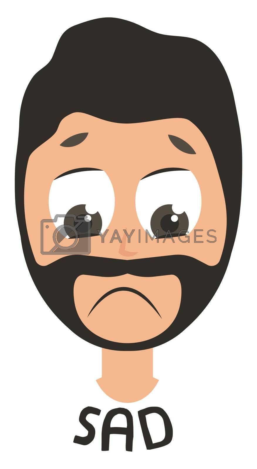 Sad man emoji, illustration, vector on white background
