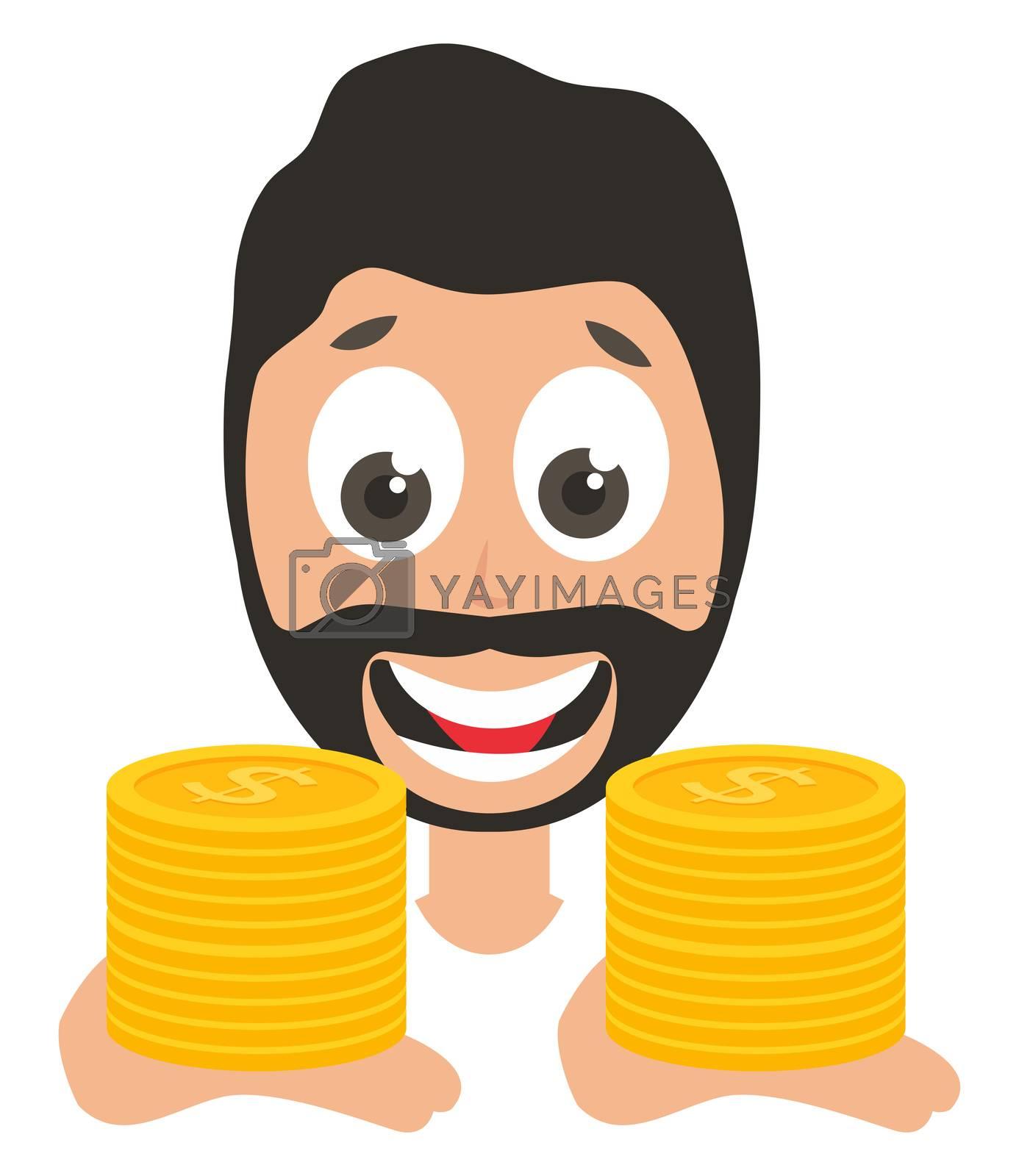 Man holding coins, illustration, vector on white background