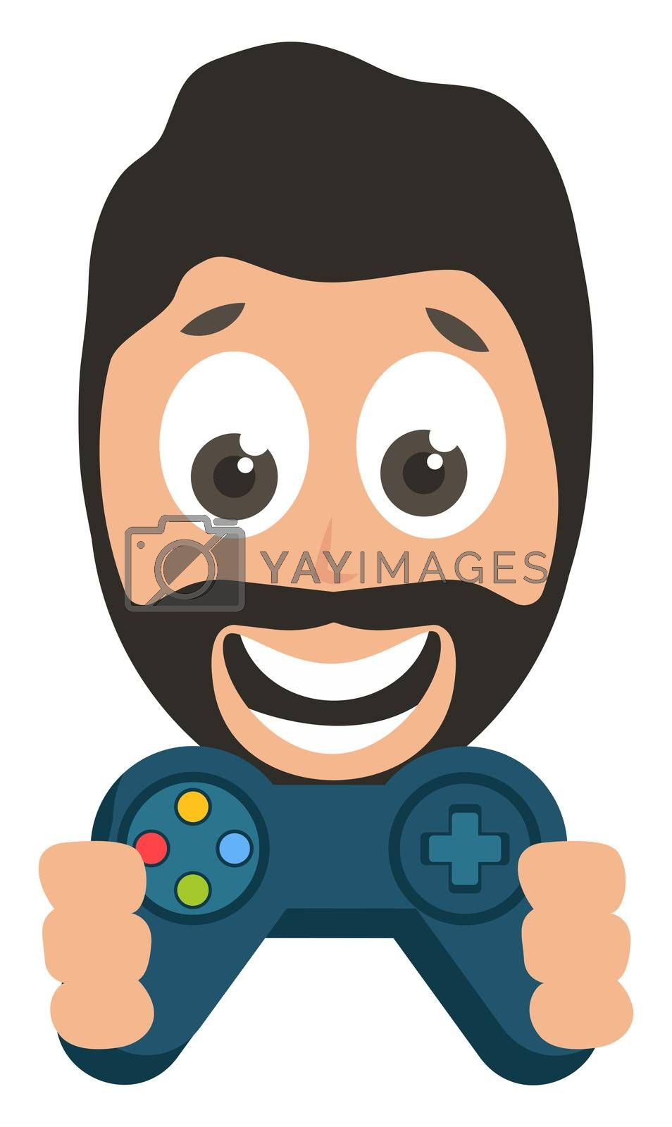 Man with gamepad, illustration, vector on white background