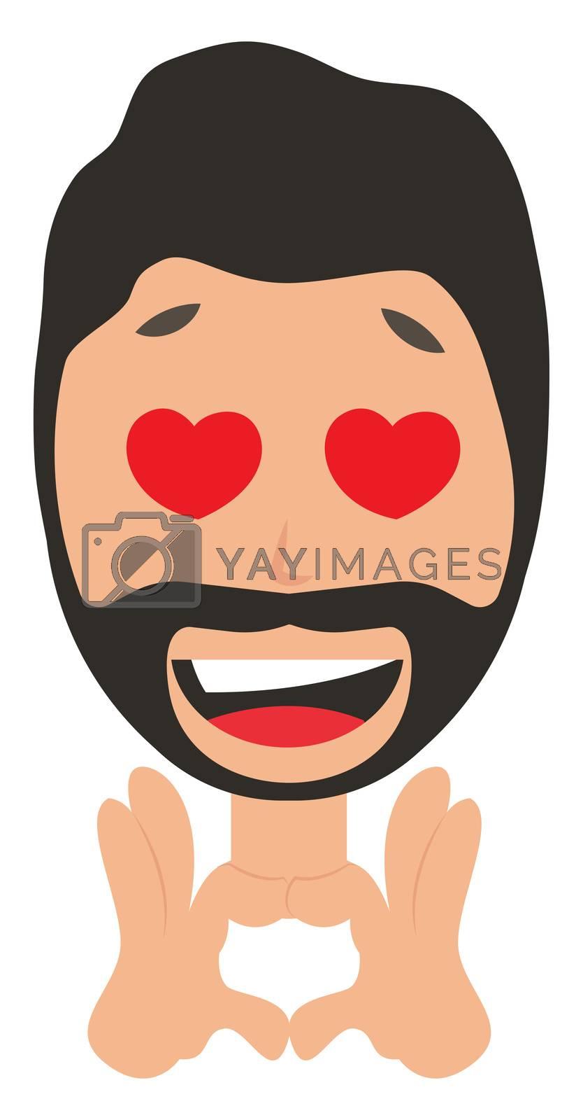 Man in love, illustration, vector on white background