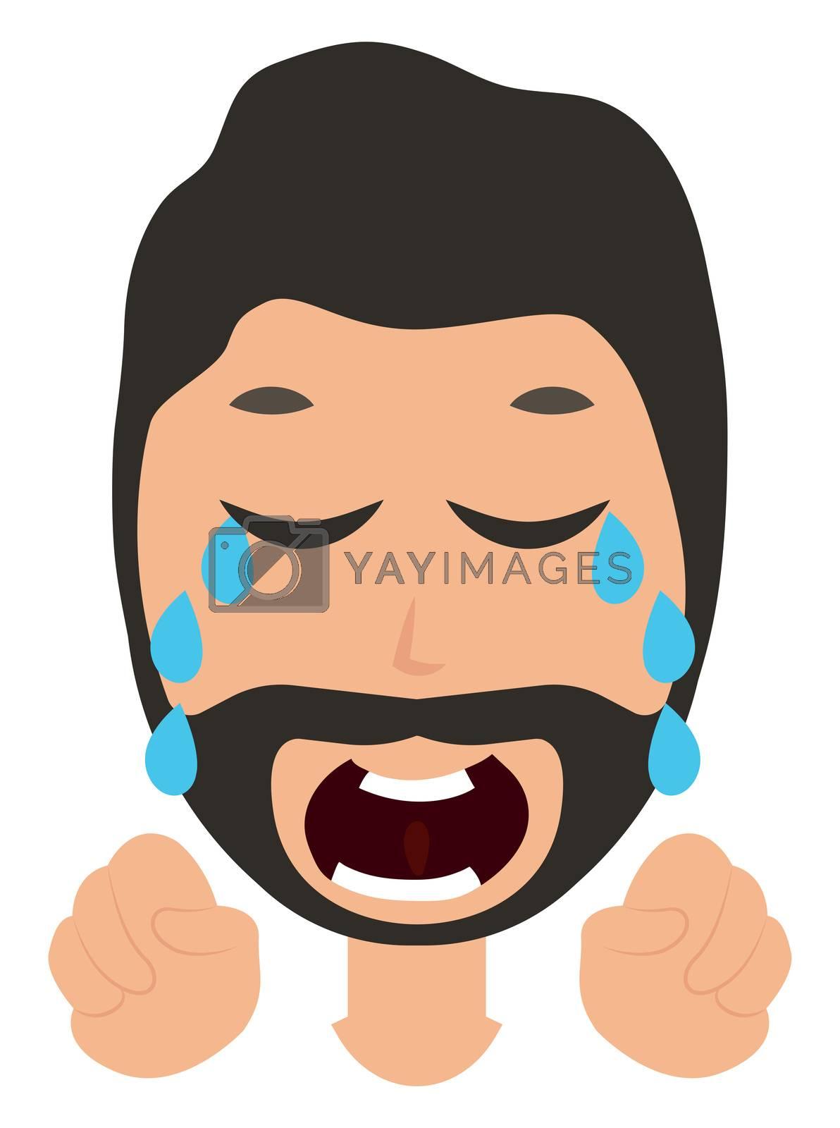 Crying man, illustration, vector on white background