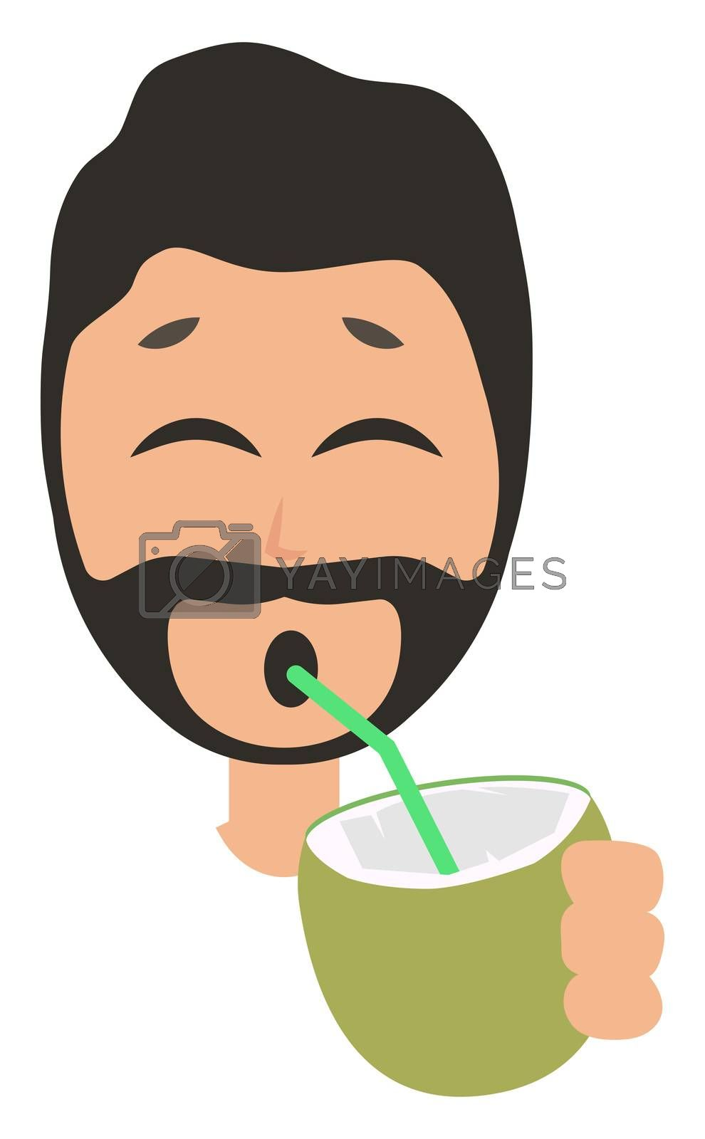 Man drinking cocktail, illustration, vector on white background