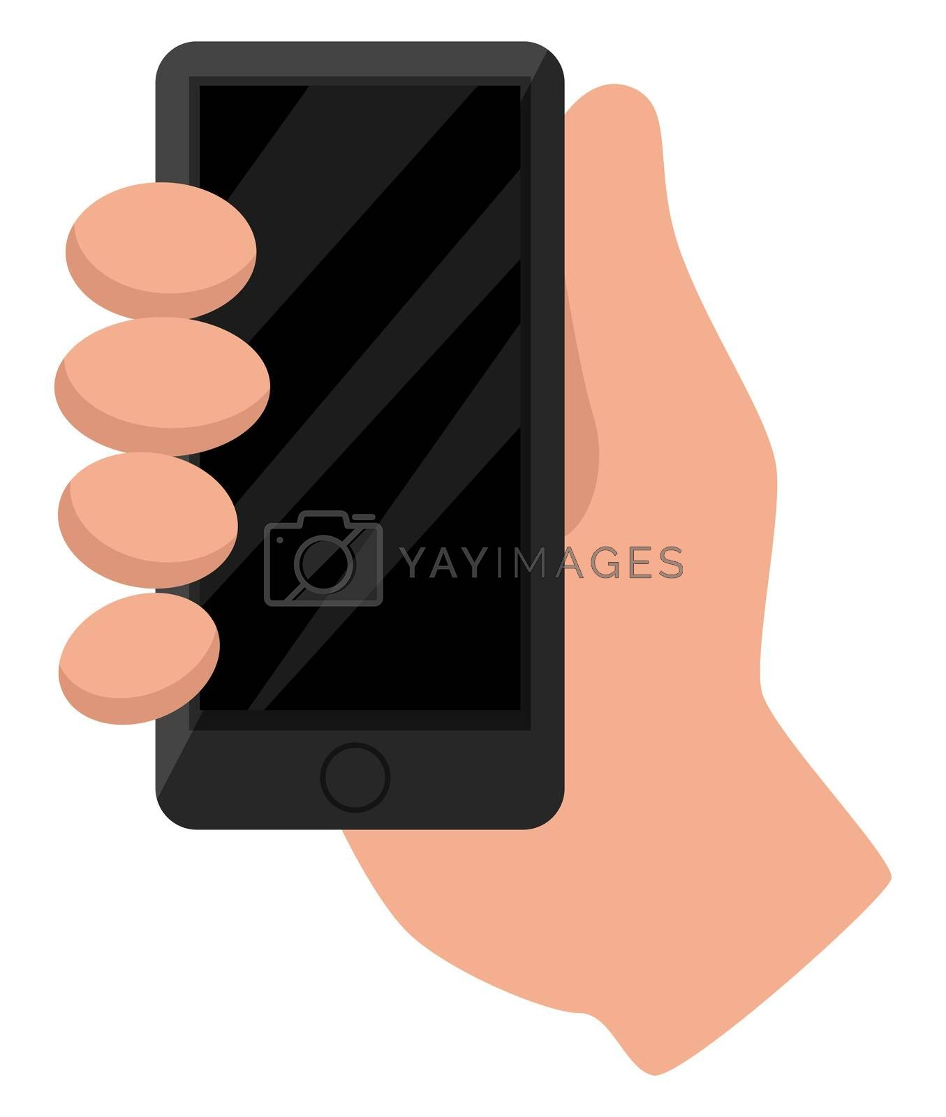 Phone in hand, illustration, vector on white background