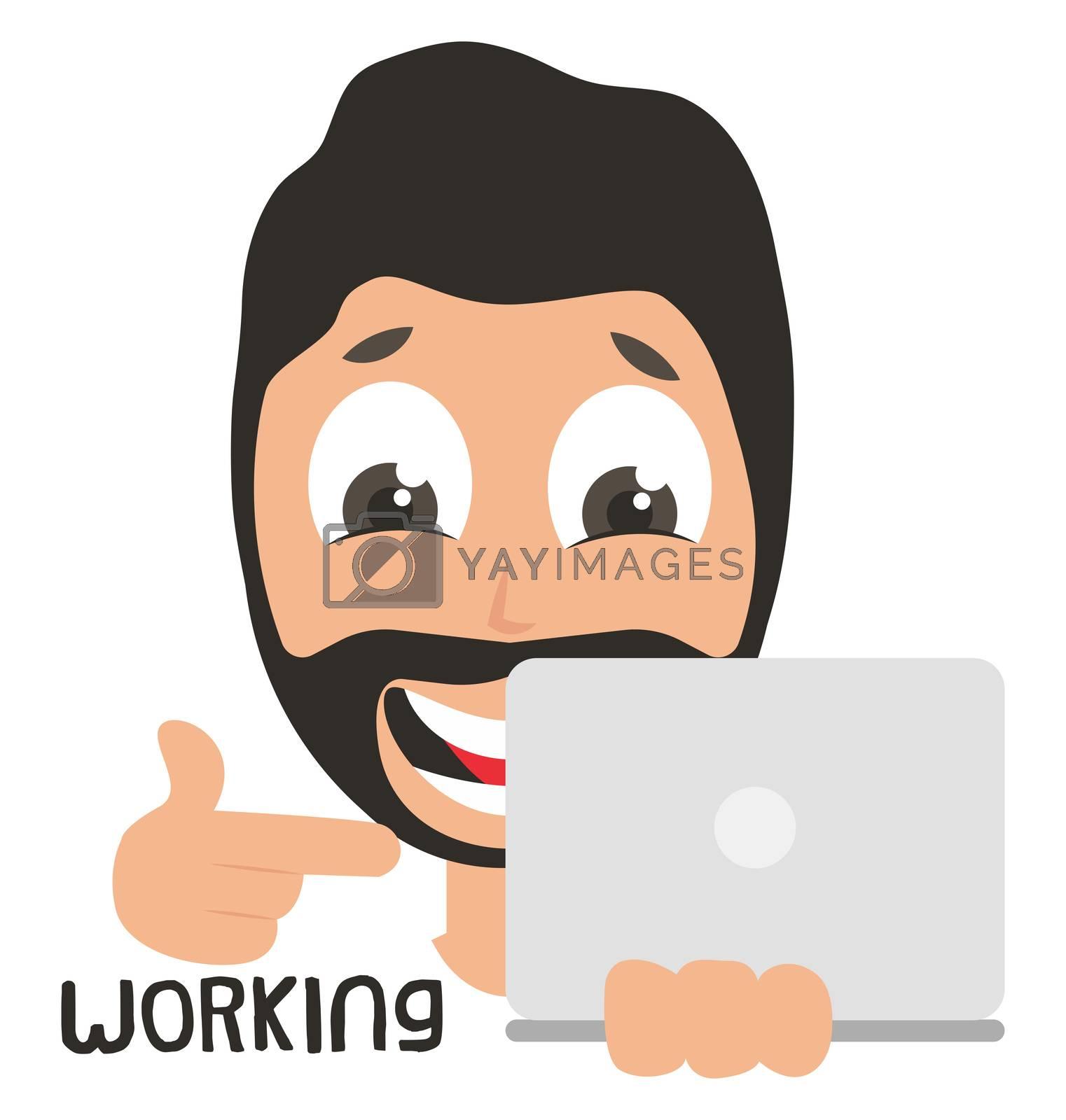 Man working on laptop, illustration, vector on white background