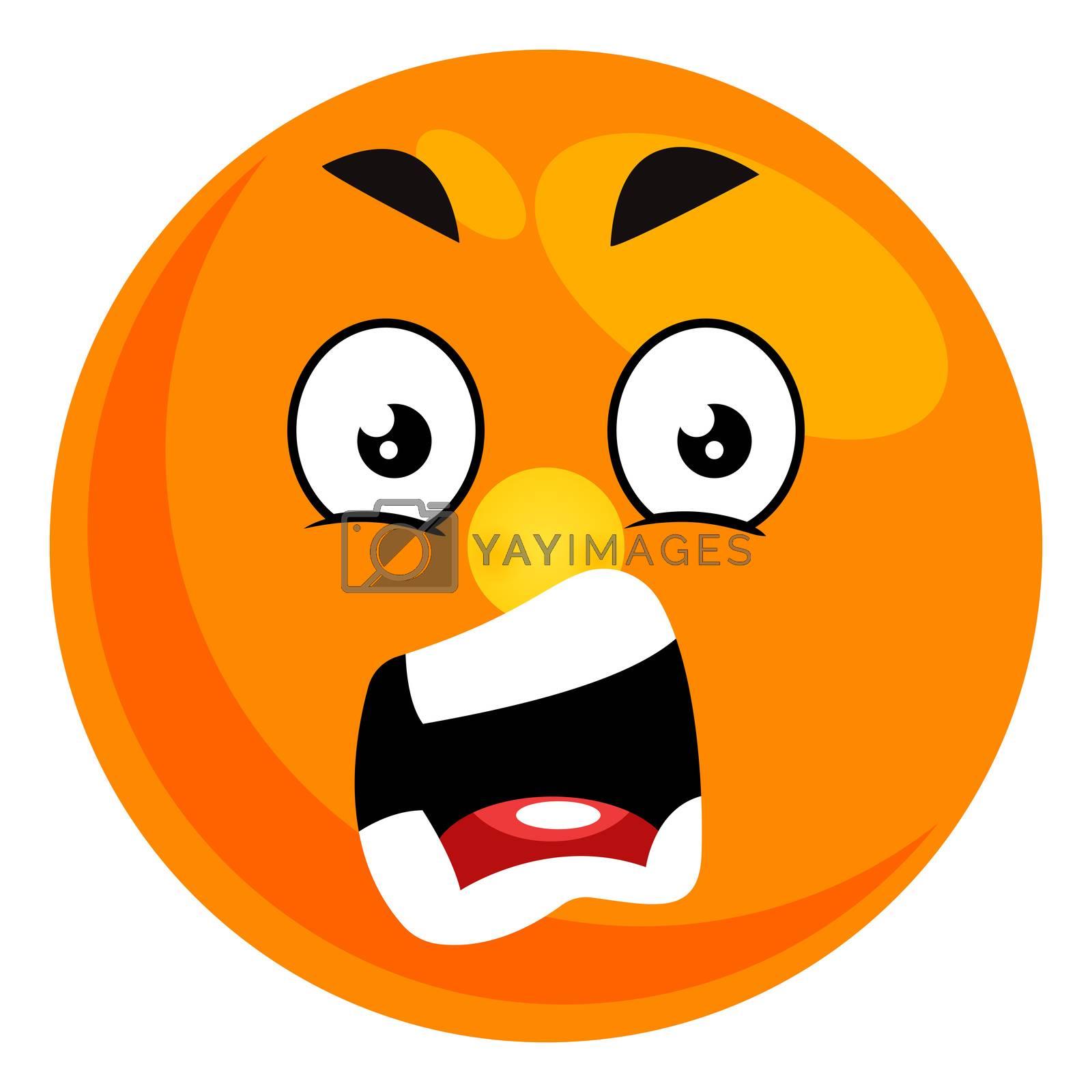 Yelling smiley, illustration, vector on white background
