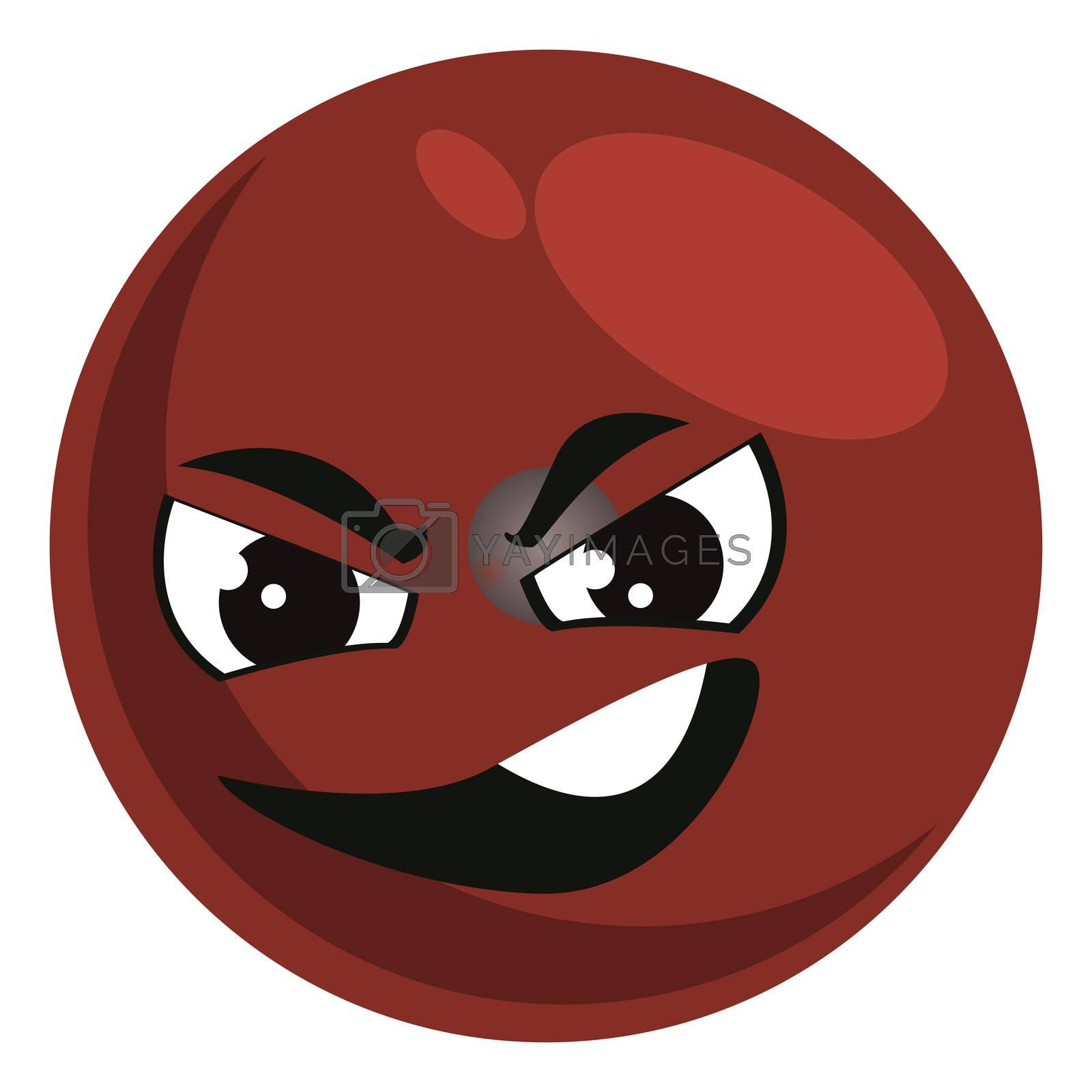 Evil emoji, illustration, vector on white background