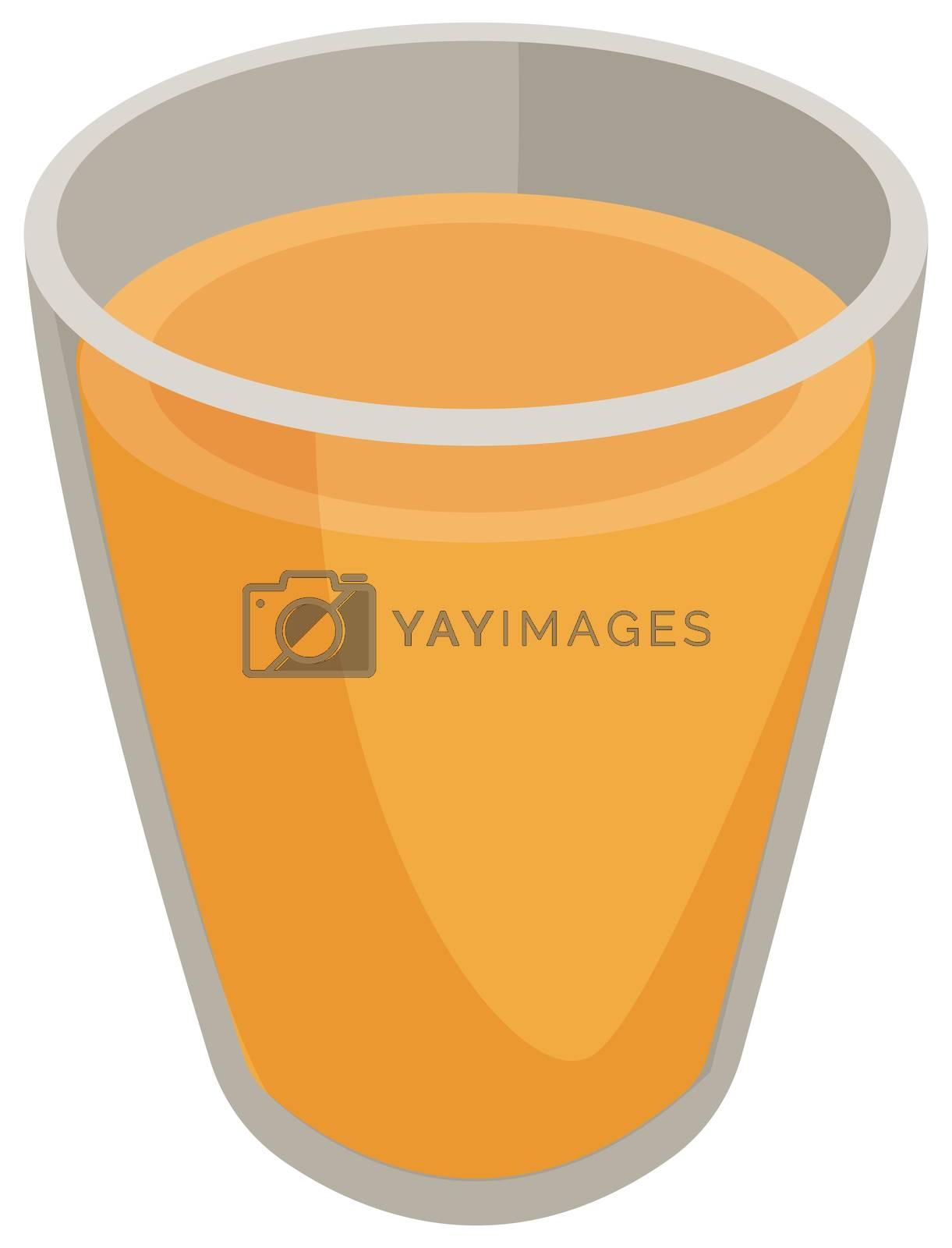 Glass of orange juice, illustration, vector on white background