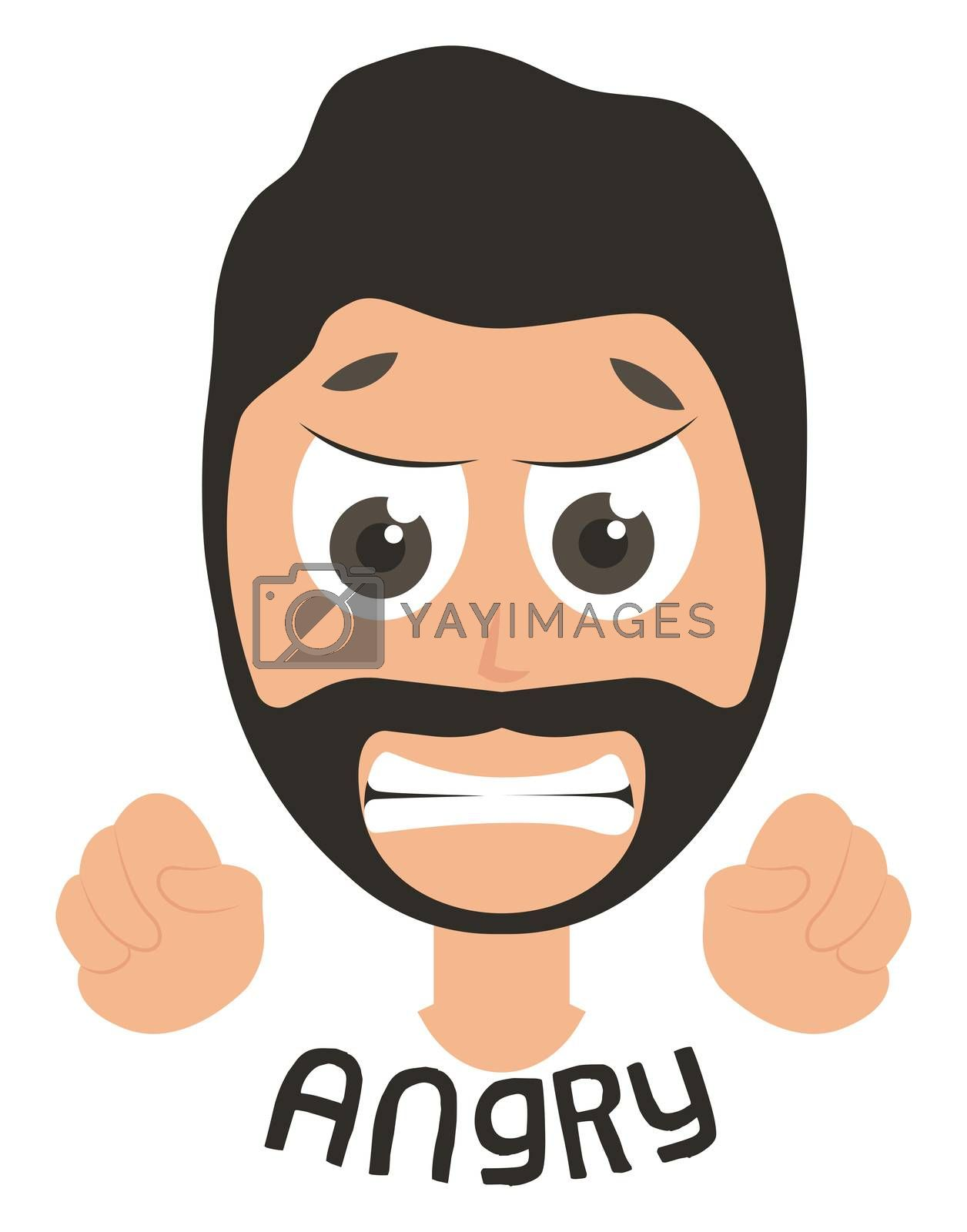 Angry man emoji, illustration, vector on white background