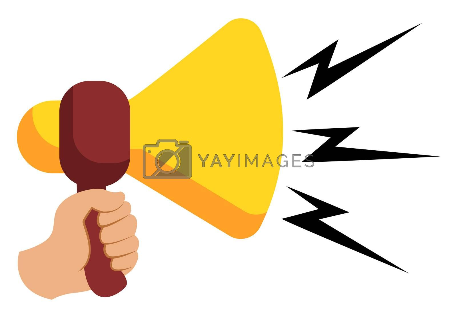 Yellow megaphone, illustration, vector on white background