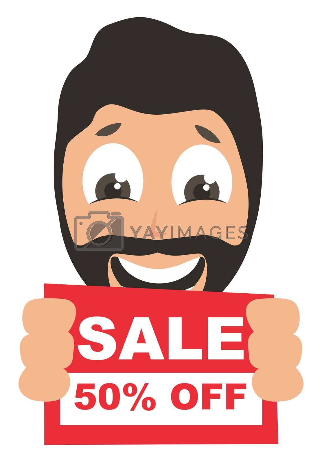 Man with sale sign, illustration, vector on white background
