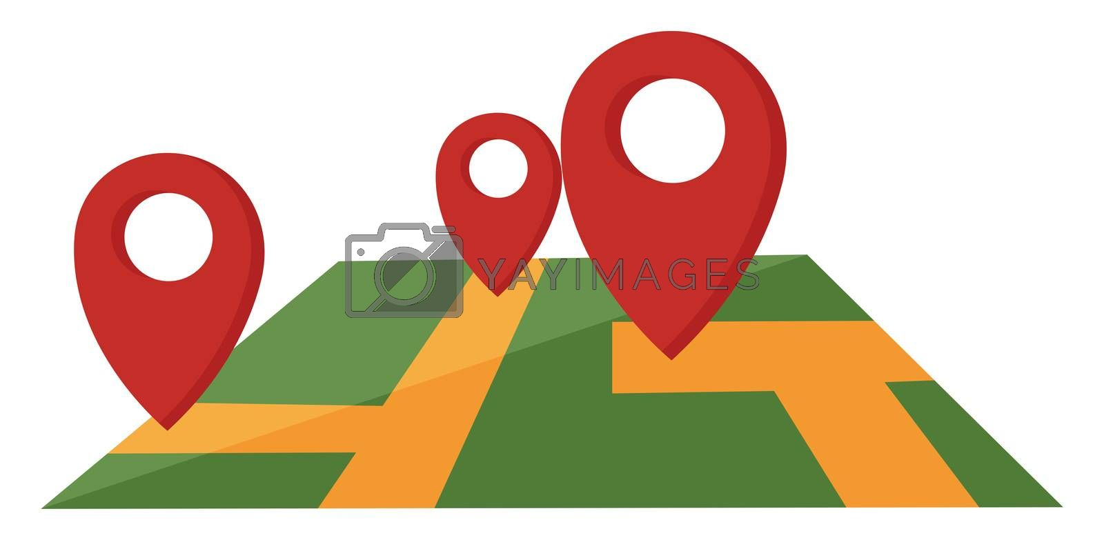 Navigation map, illustration, vector on white background