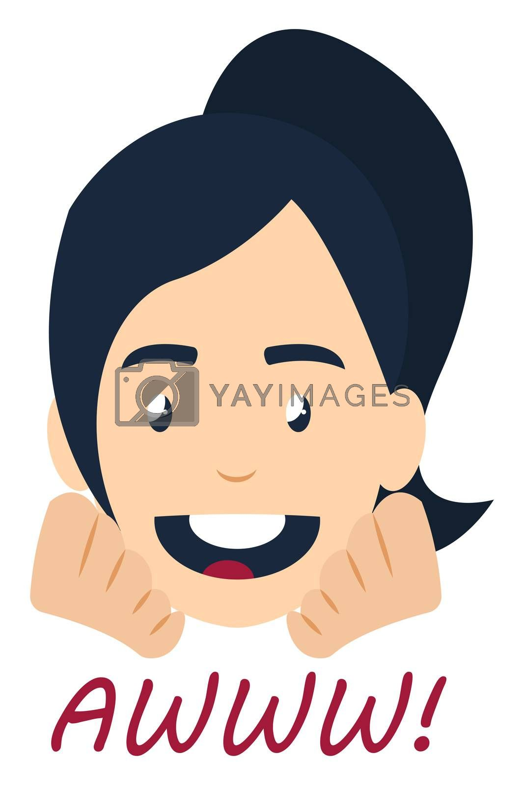 Awww girl, illustration, vector on white background