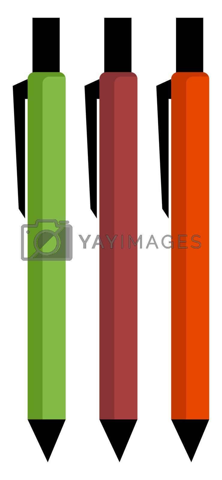 Pens, illustration, vector on white background
