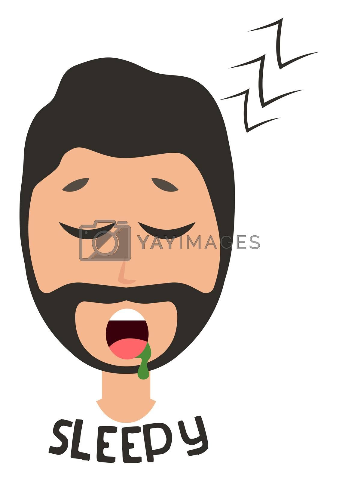 Sleepy man emoji, illustration, vector on white background