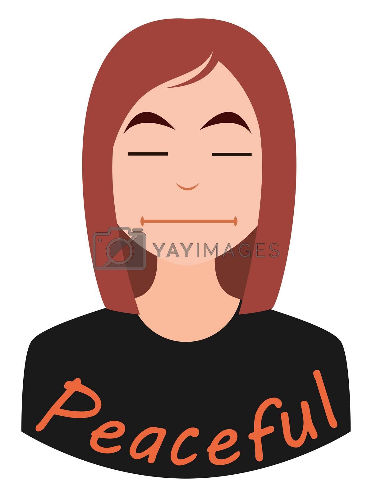 Peaceful girl emoji, illustration, vector on white background