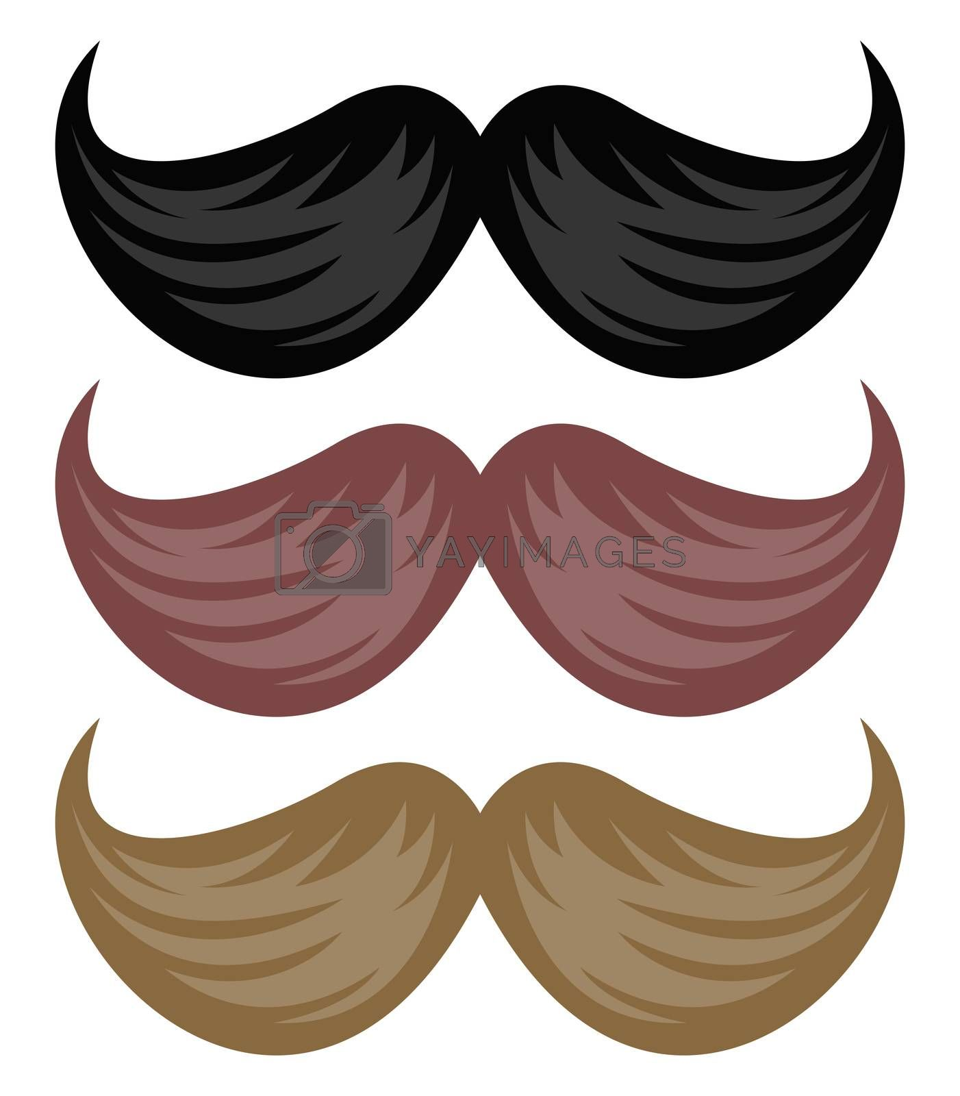 Mustaches, illustration, vector on white background
