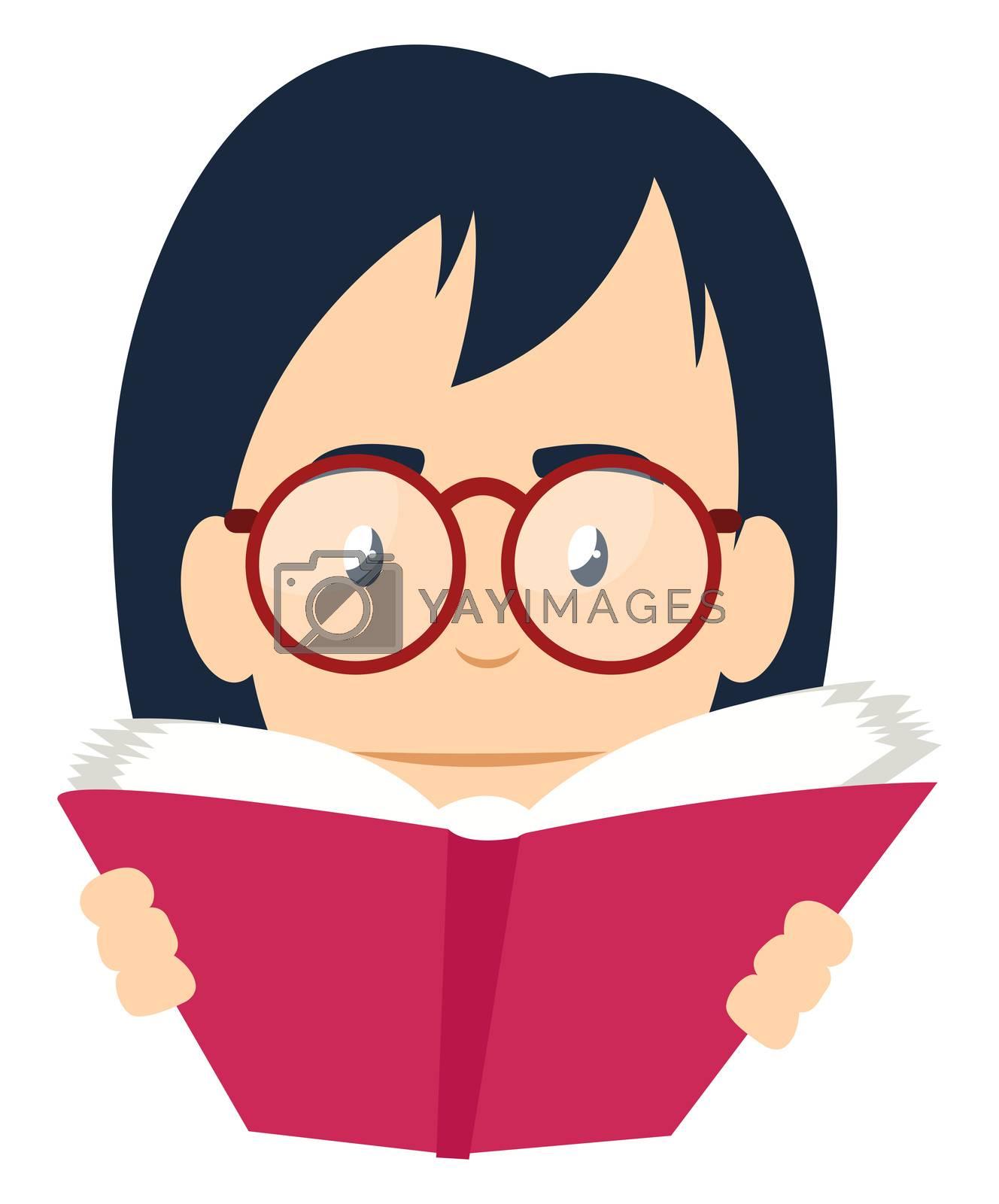 Girl reading book, illustration, vector on white background