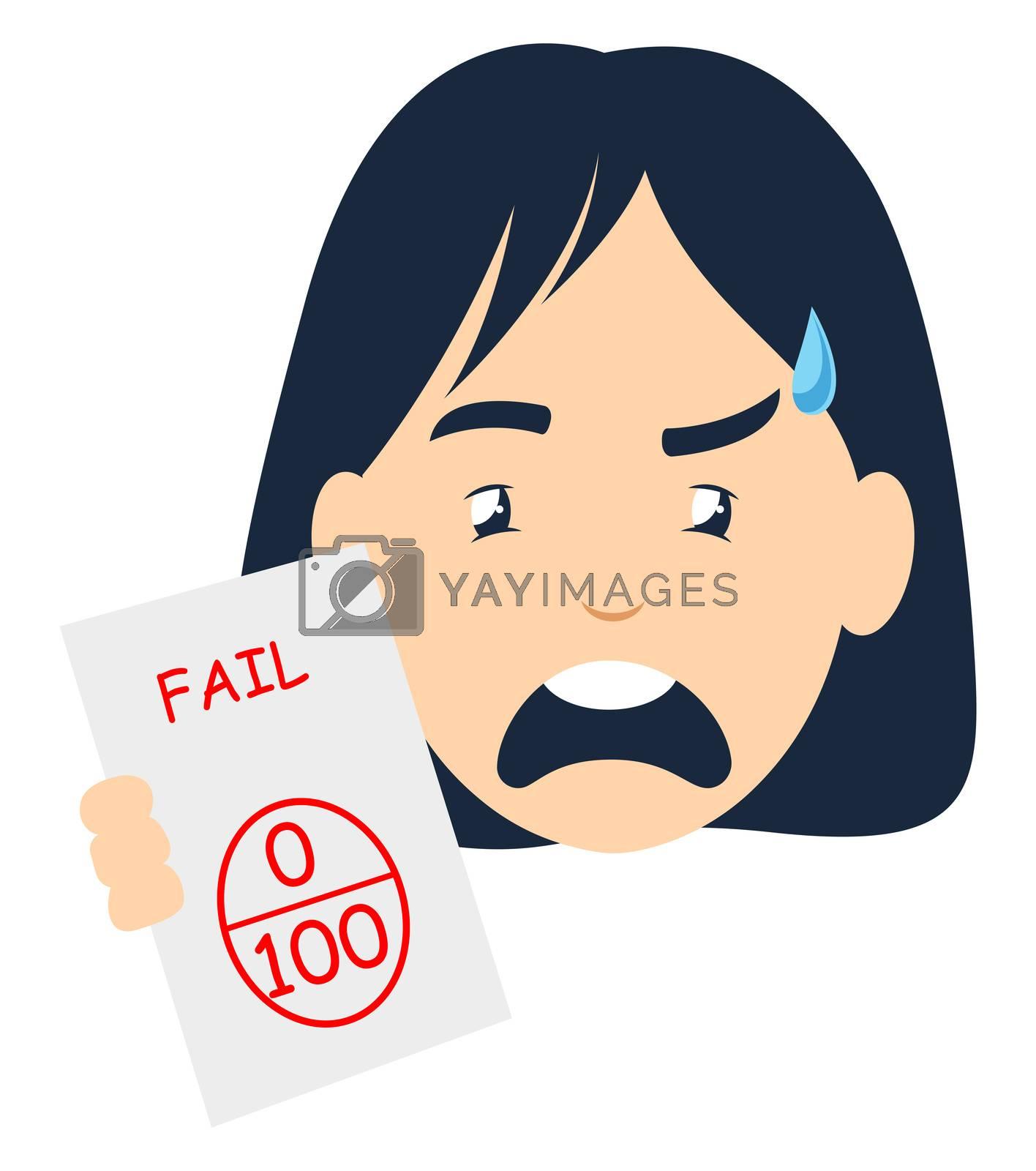 Girl failed on exam, illustration, vector on white background
