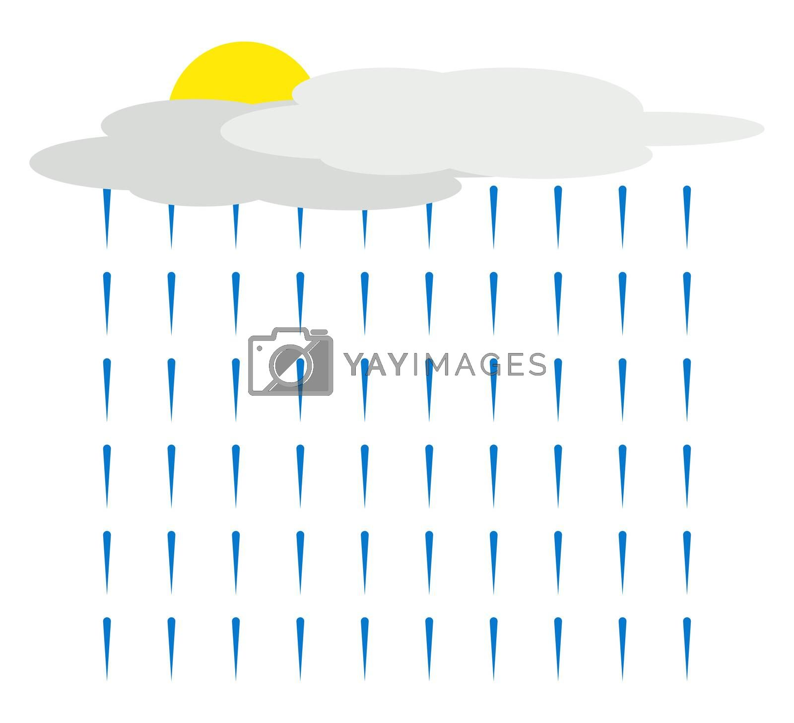 Rain from cloud, illustration, vector on white background by Morphart