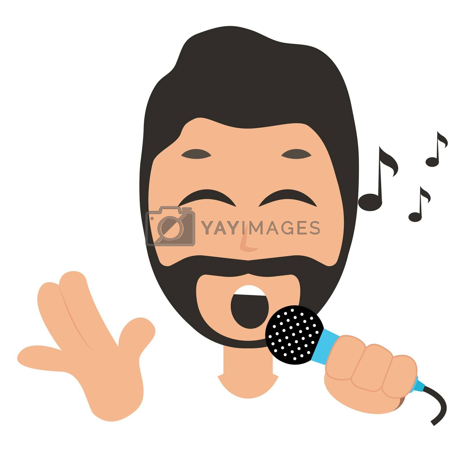 Man singing on microphone, illustration, vector on white backgro by Morphart