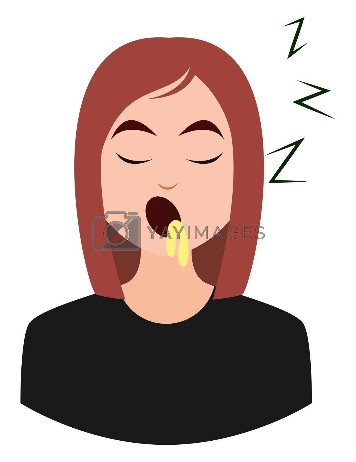 Sleepy girl emoji, illustration, vector on white background
