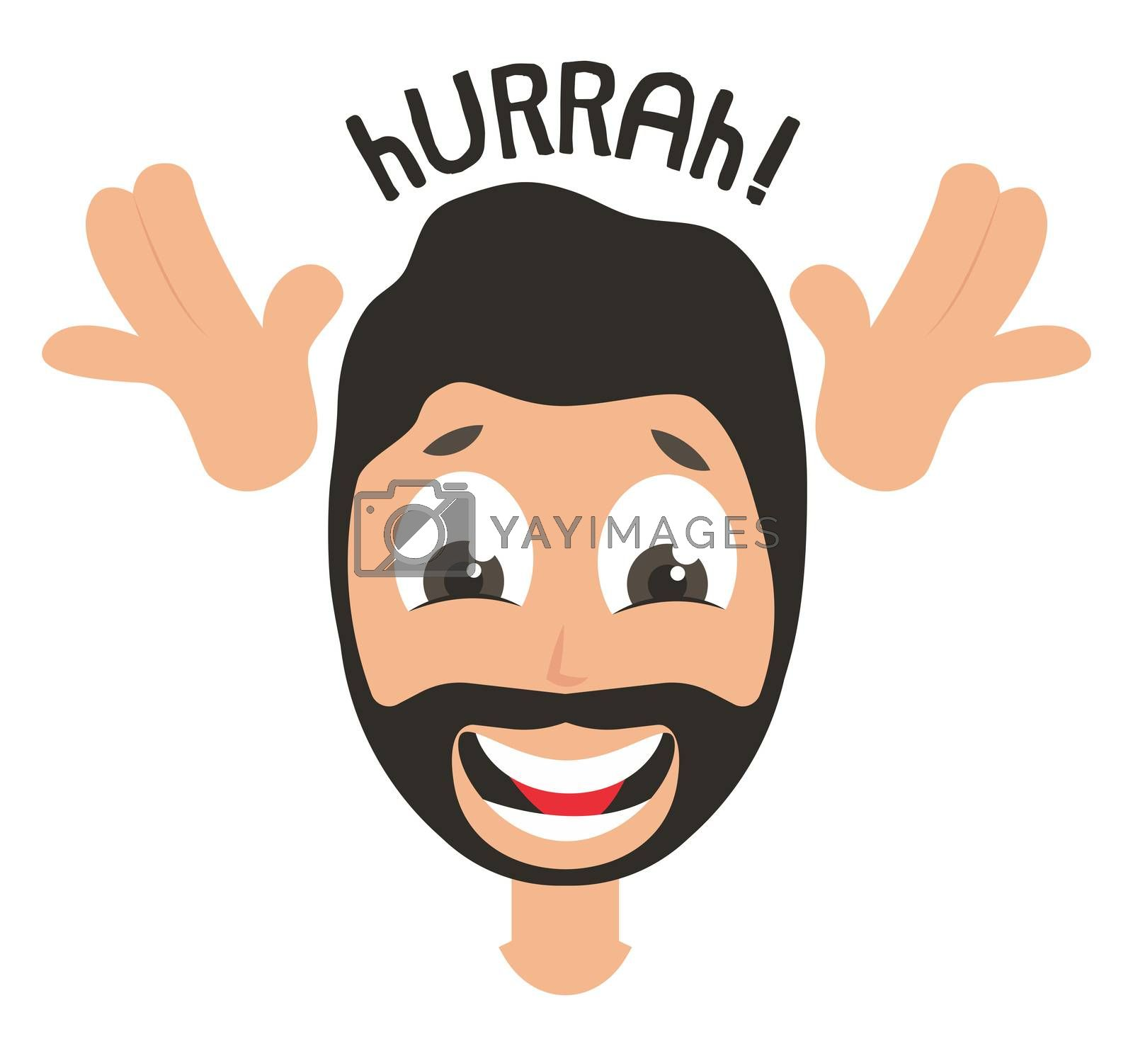 Happy man emoji, illustration, vector on white background by Morphart