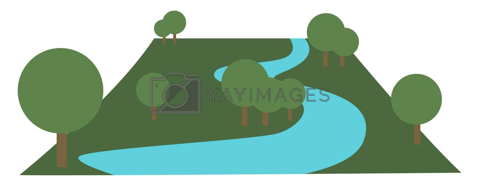 Park in city, illustration, vector on white background