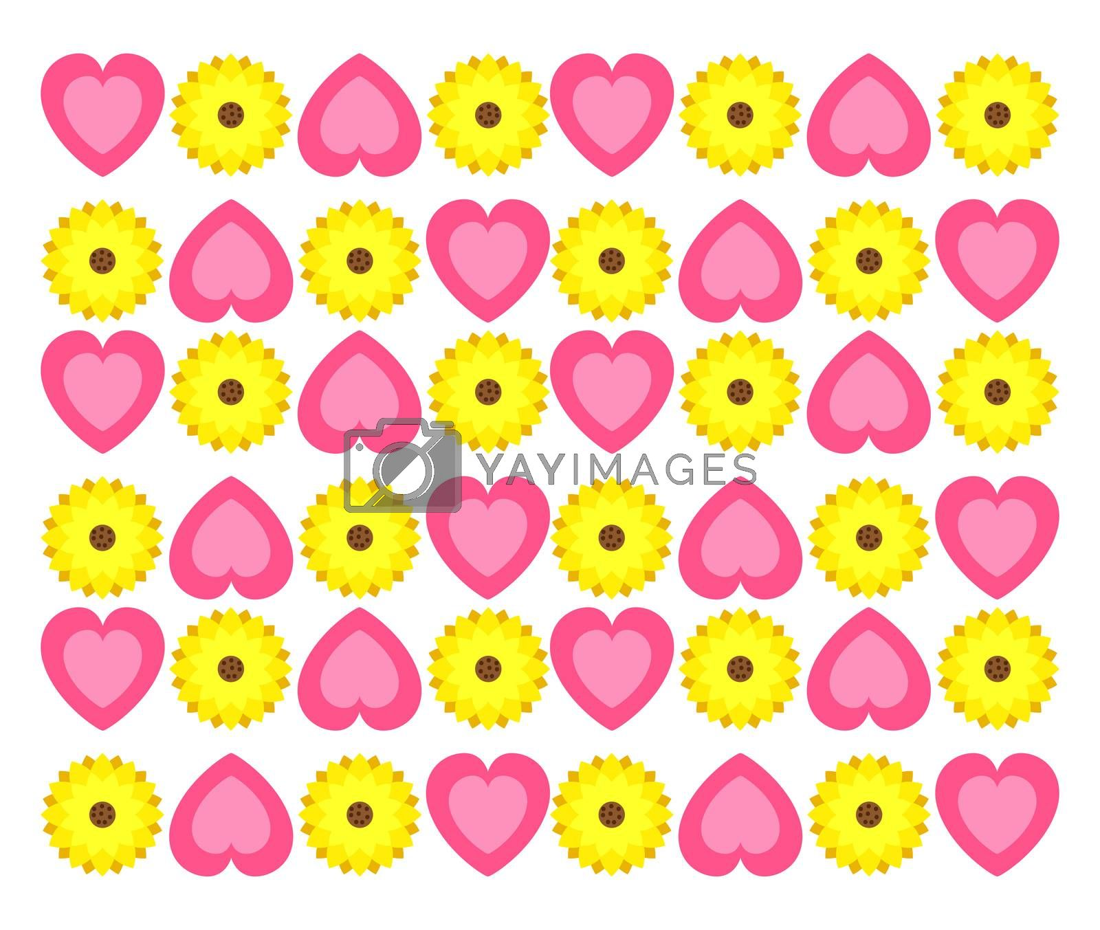 Hearts pattern, illustration, vector on white background