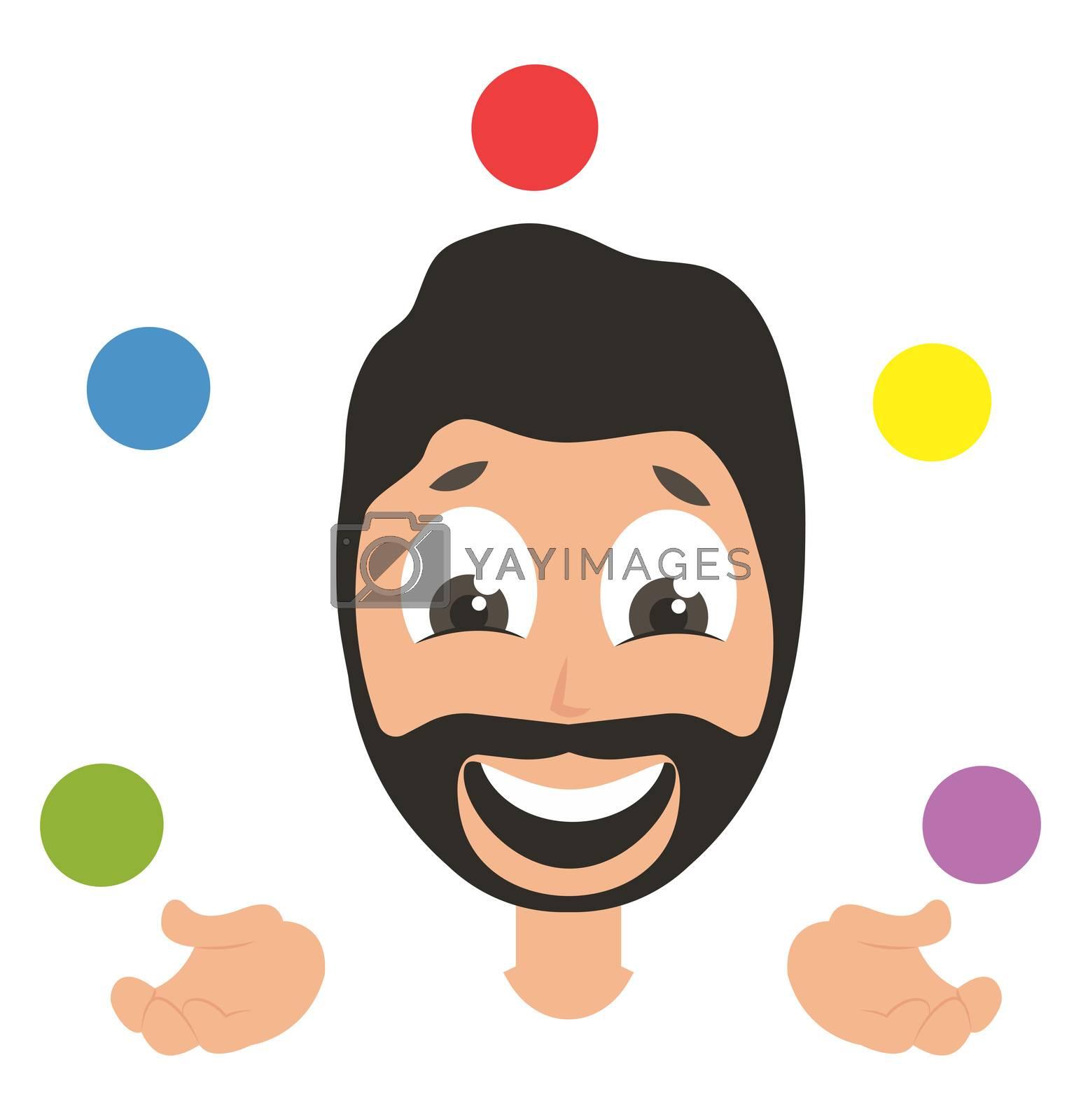 Man juggling, illustration, vector on white background
